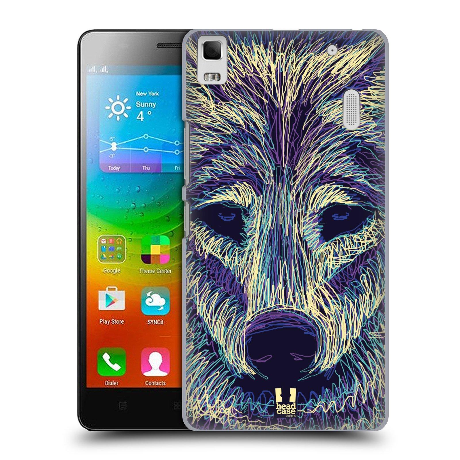 HEAD CASE pevný plastový obal na mobil LENOVO A7000 / A7000 DUAL / K3 NOTE vzor zvíře čmáranice vlk