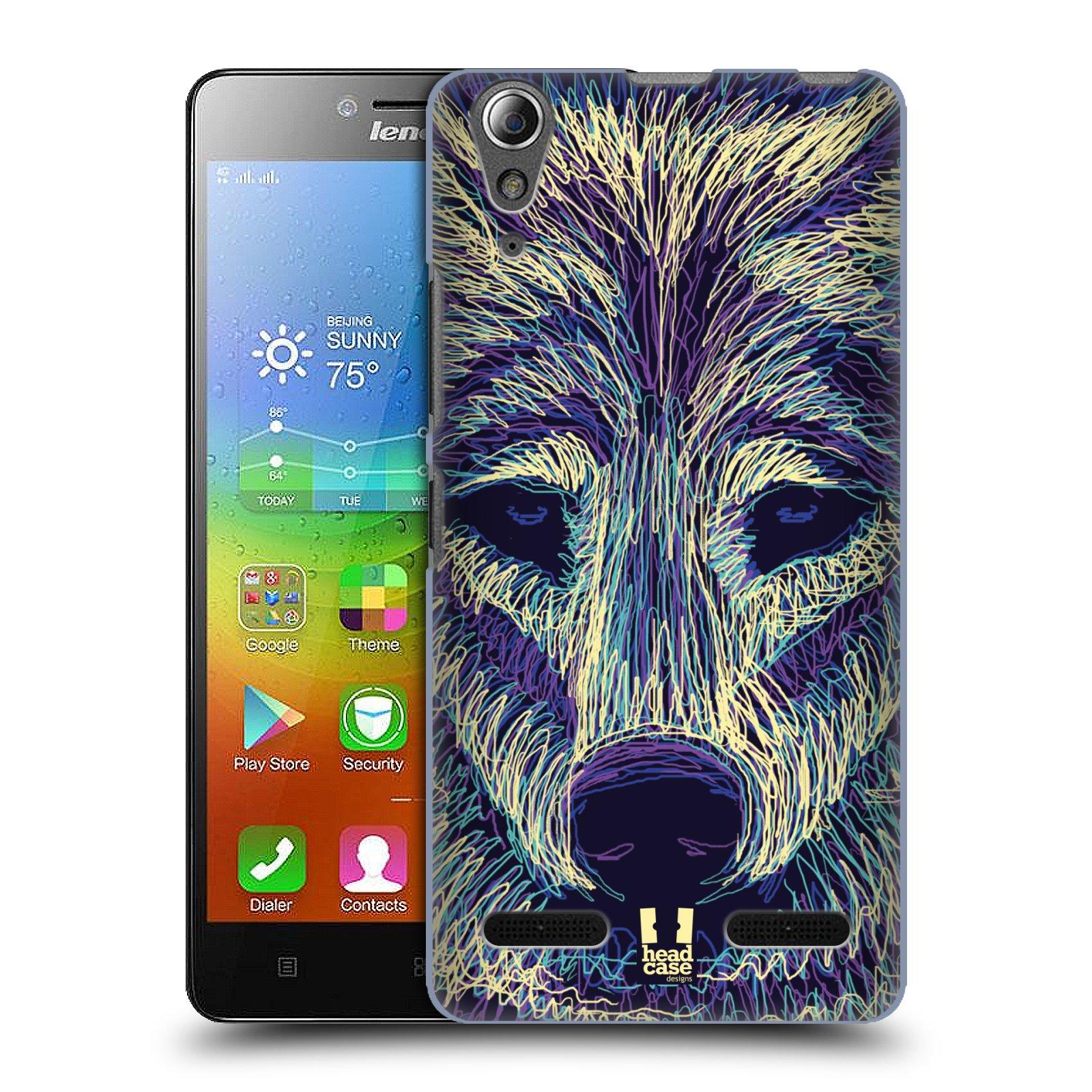 HEAD CASE pevný plastový obal na mobil LENOVO A6000 / A6000 PLUS vzor zvíře čmáranice vlk
