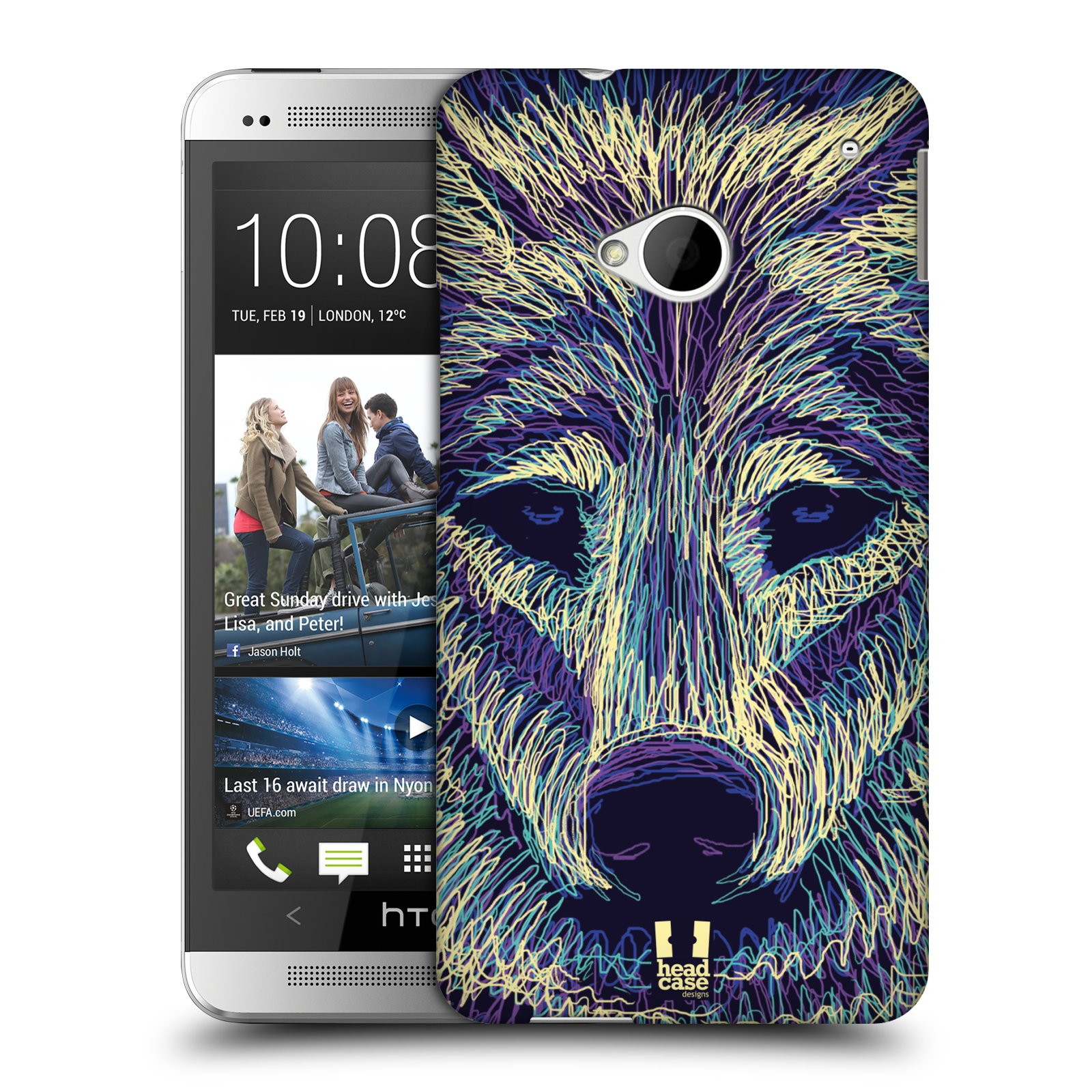HEAD CASE plastový obal na mobil HTC One (M7) vzor zvíře čmáranice vlk