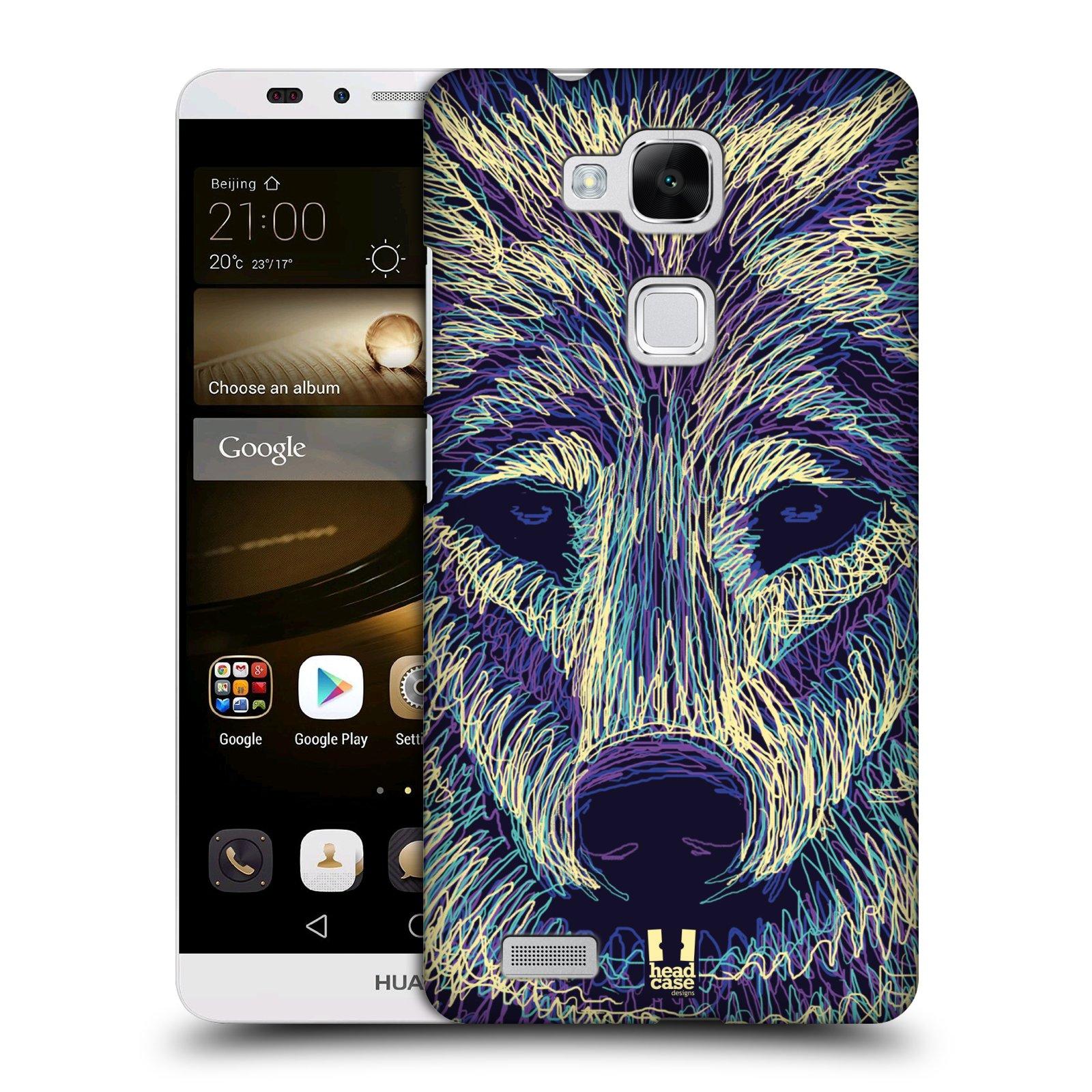 HEAD CASE plastový obal na mobil Huawei Mate 7 vzor zvíře čmáranice vlk
