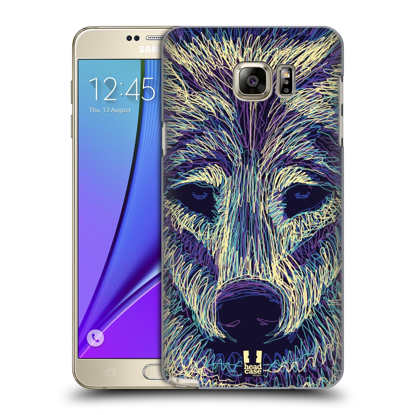 HEAD CASE plastový obal na mobil SAMSUNG Galaxy Note 5 (N920) vzor zvíře čmáranice vlk
