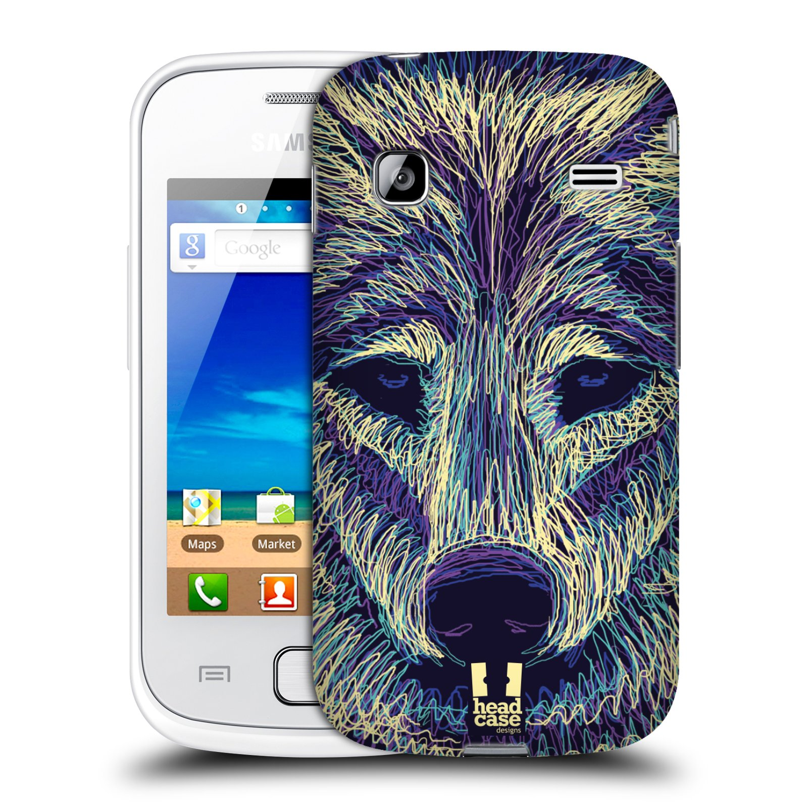 HEAD CASE plastový obal na mobil SAMSUNG GALAXY GIO (S5660) vzor zvíře čmáranice vlk