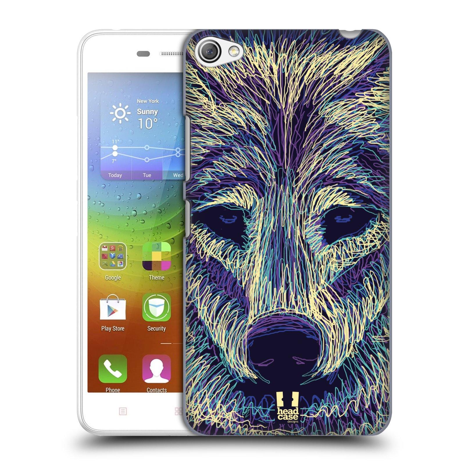 HEAD CASE pevný plastový obal na mobil LENOVO S60 / LENOVO S60 DUAL SIM vzor zvíře čmáranice vlk