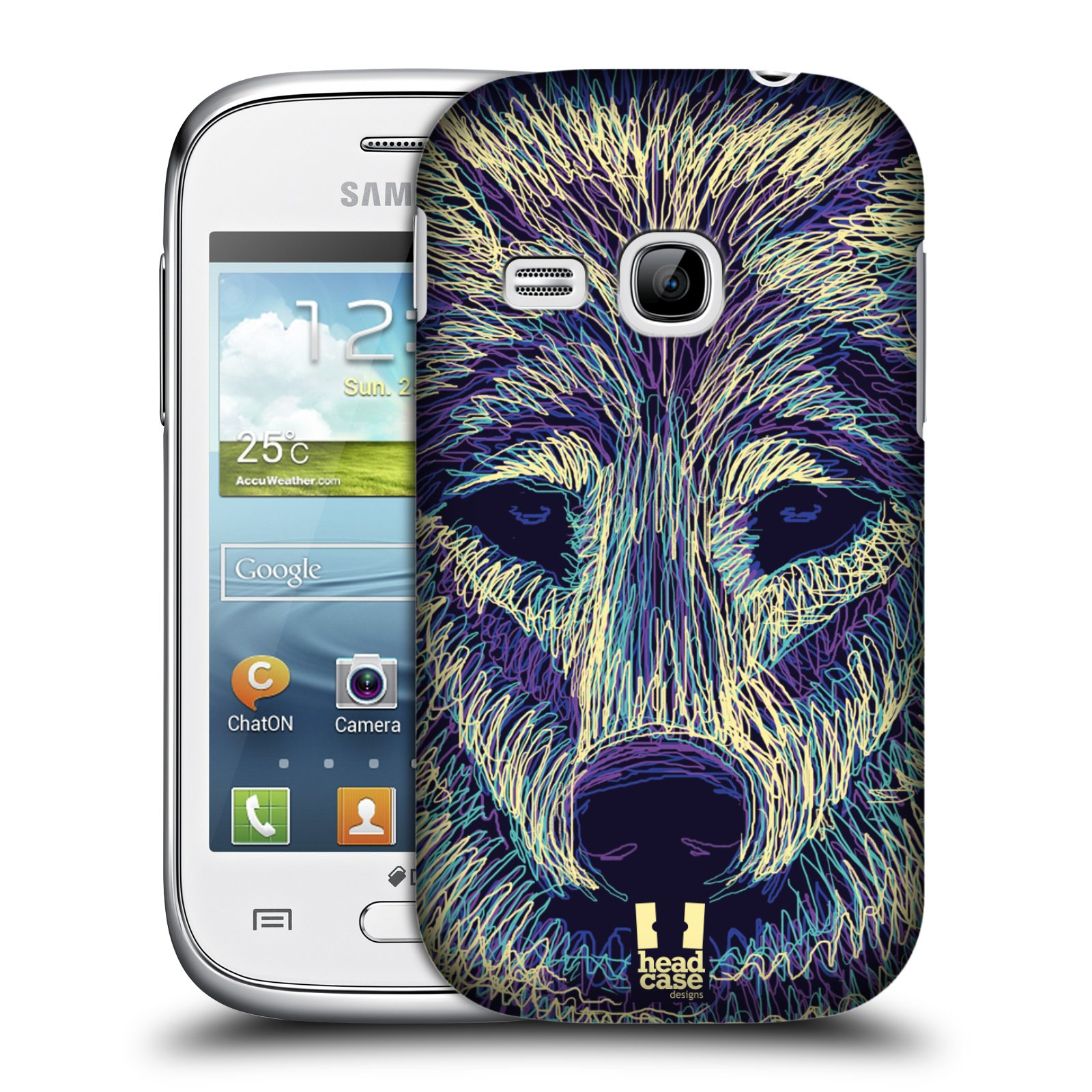 HEAD CASE plastový obal na mobil SAMSUNG Galaxy Young S6310 vzor zvíře čmáranice vlk