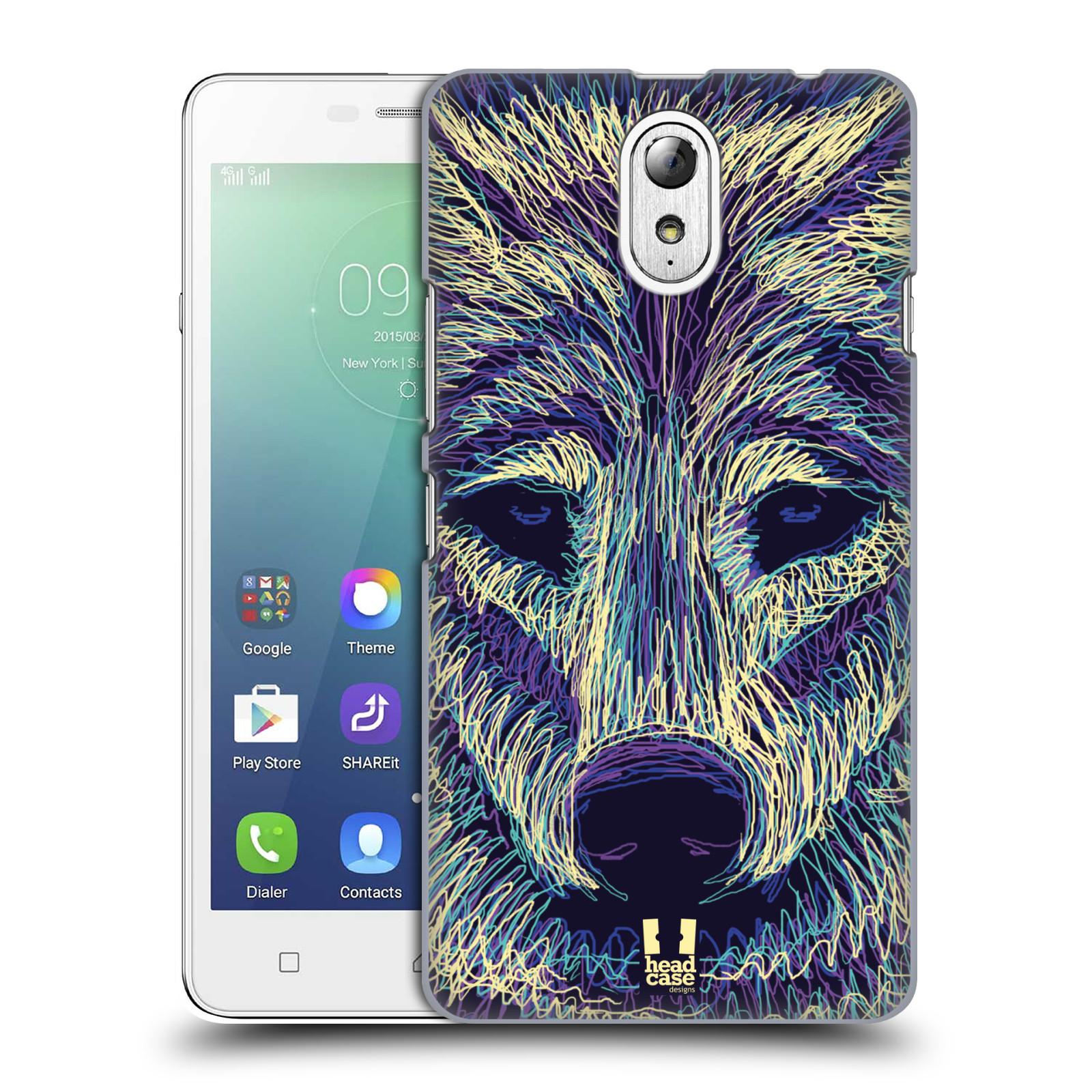 HEAD CASE pevný plastový obal na mobil LENOVO VIBE P1m / LENOVO VIBE p1m DUAL SIM vzor zvíře čmáranice vlk