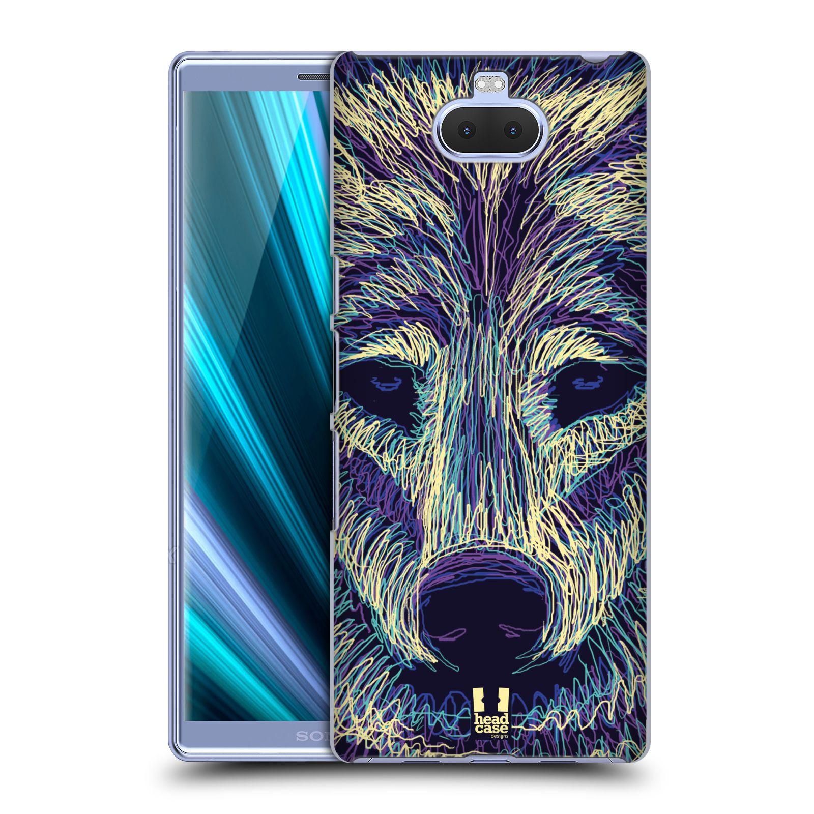 Pouzdro na mobil Sony Xperia 10 - Head Case - vzor zvíře čmáranice vlk