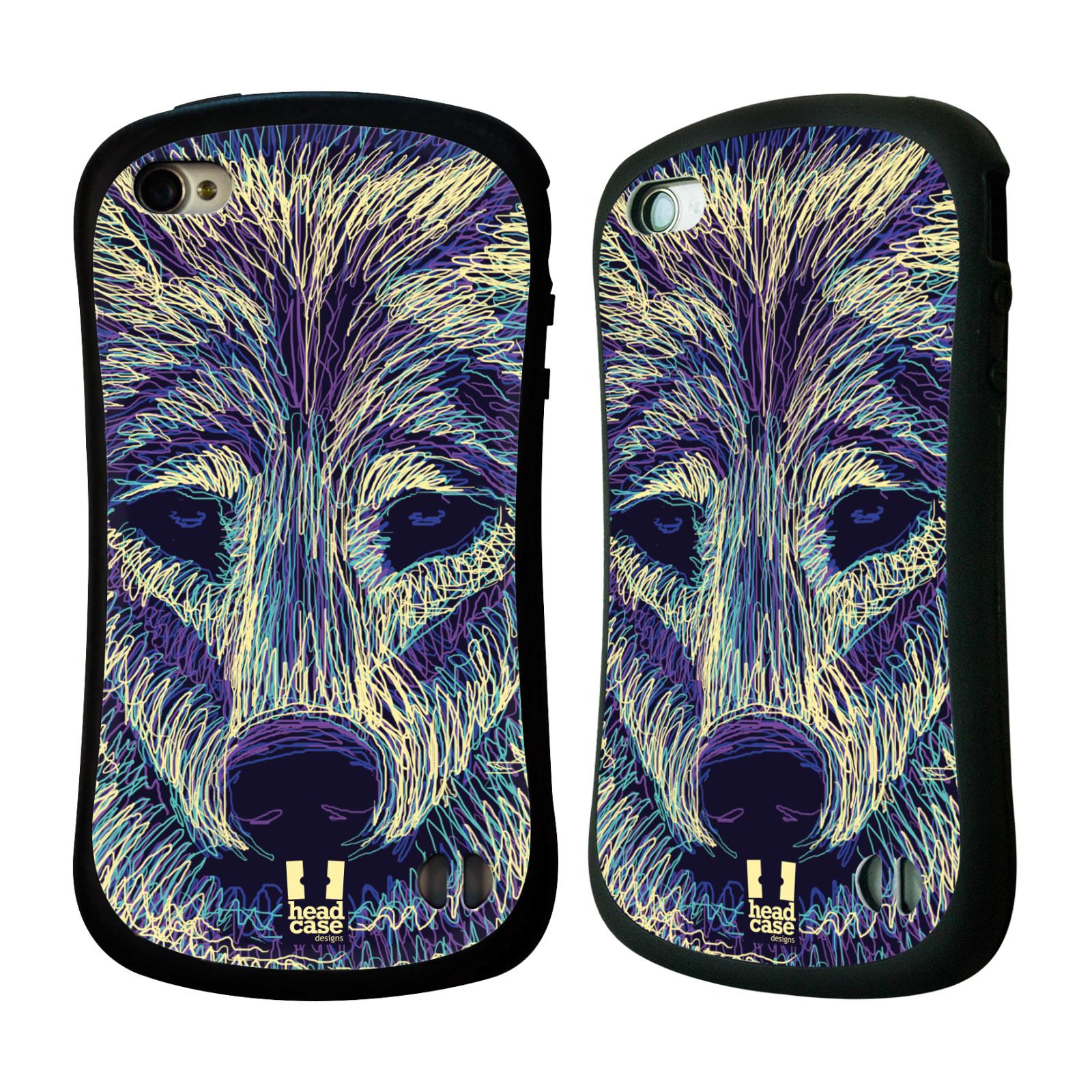 HEAD CASE silikon/plast odolný obal na mobil Apple Iphone 4/4S vzor zvíře čmáranice vlk
