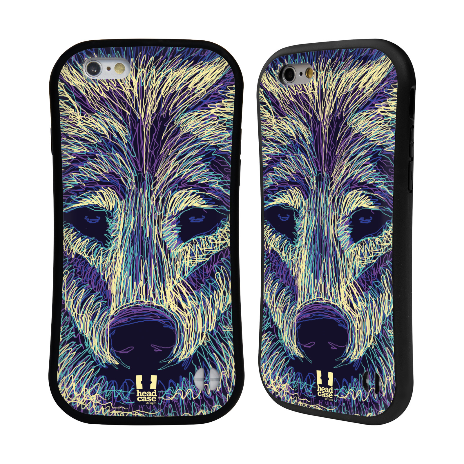 HEAD CASE silikon/plast odolný obal na mobil Apple Iphone 6/6S vzor zvíře čmáranice vlk