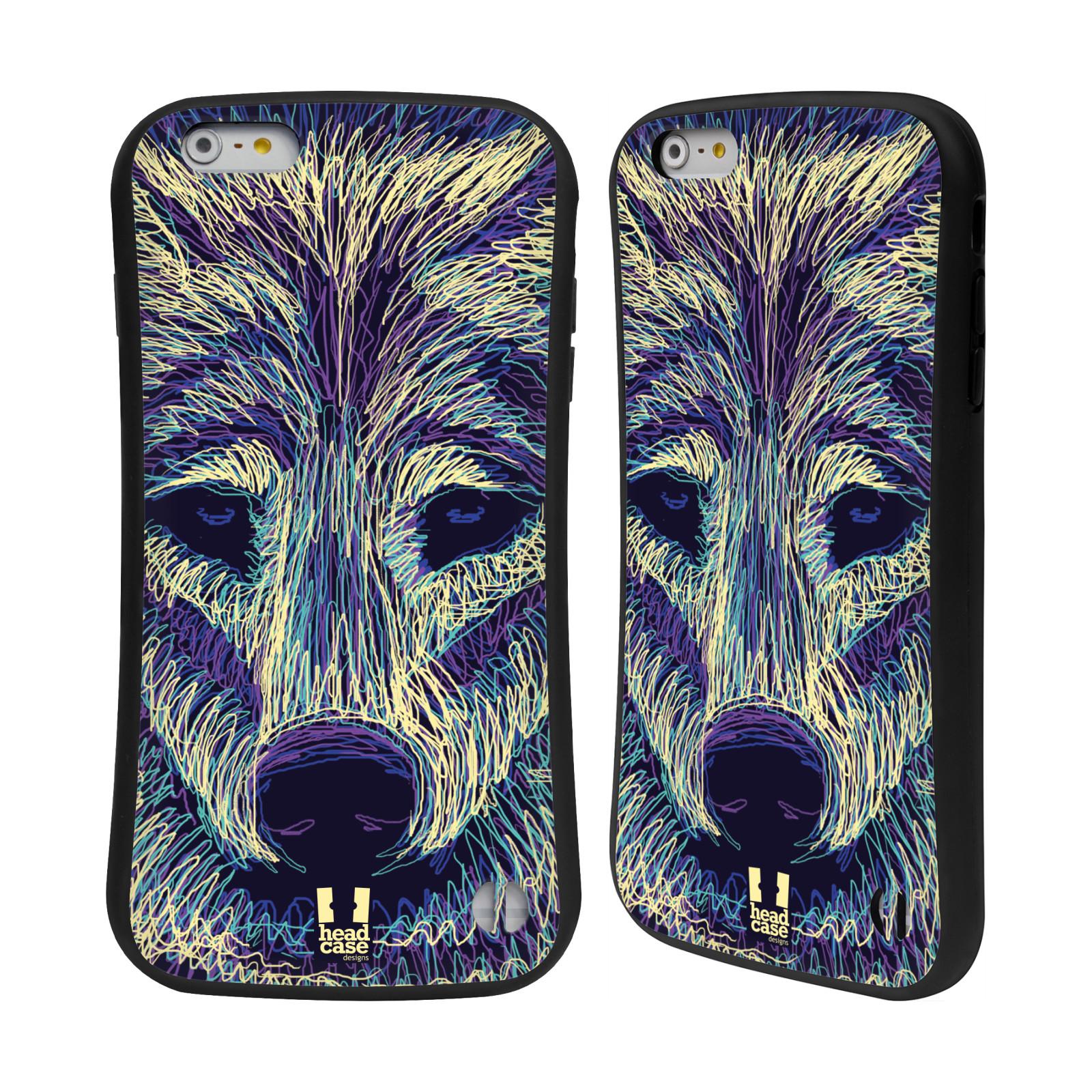 HEAD CASE silikon/plast odolný obal na mobil Apple Iphone 6 PLUS / 6S PLUS vzor zvíře čmáranice vlk
