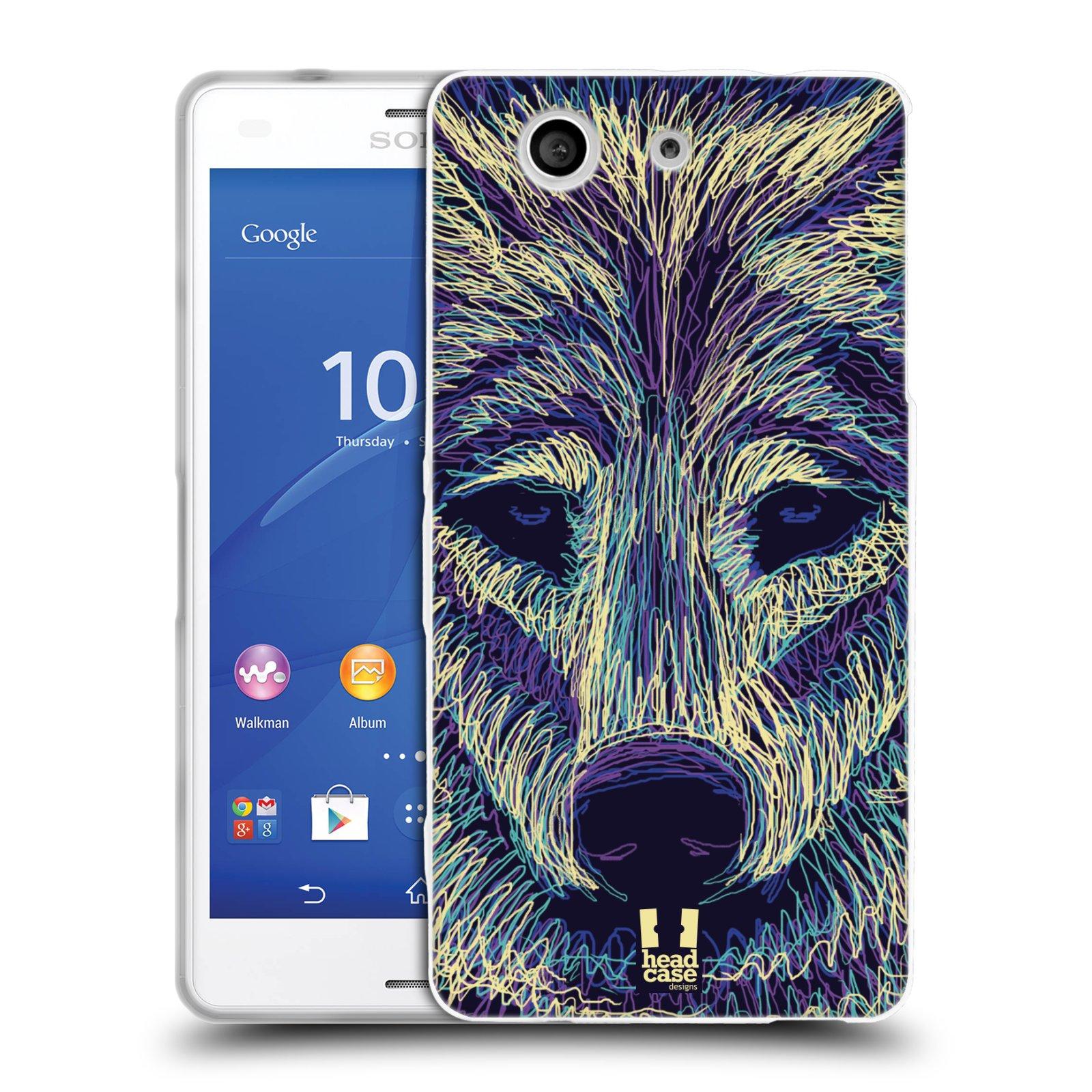 HEAD CASE silikonový obal na mobil Sony Xperia Z3 COMPACT (D5803) vzor zvíře čmáranice vlk