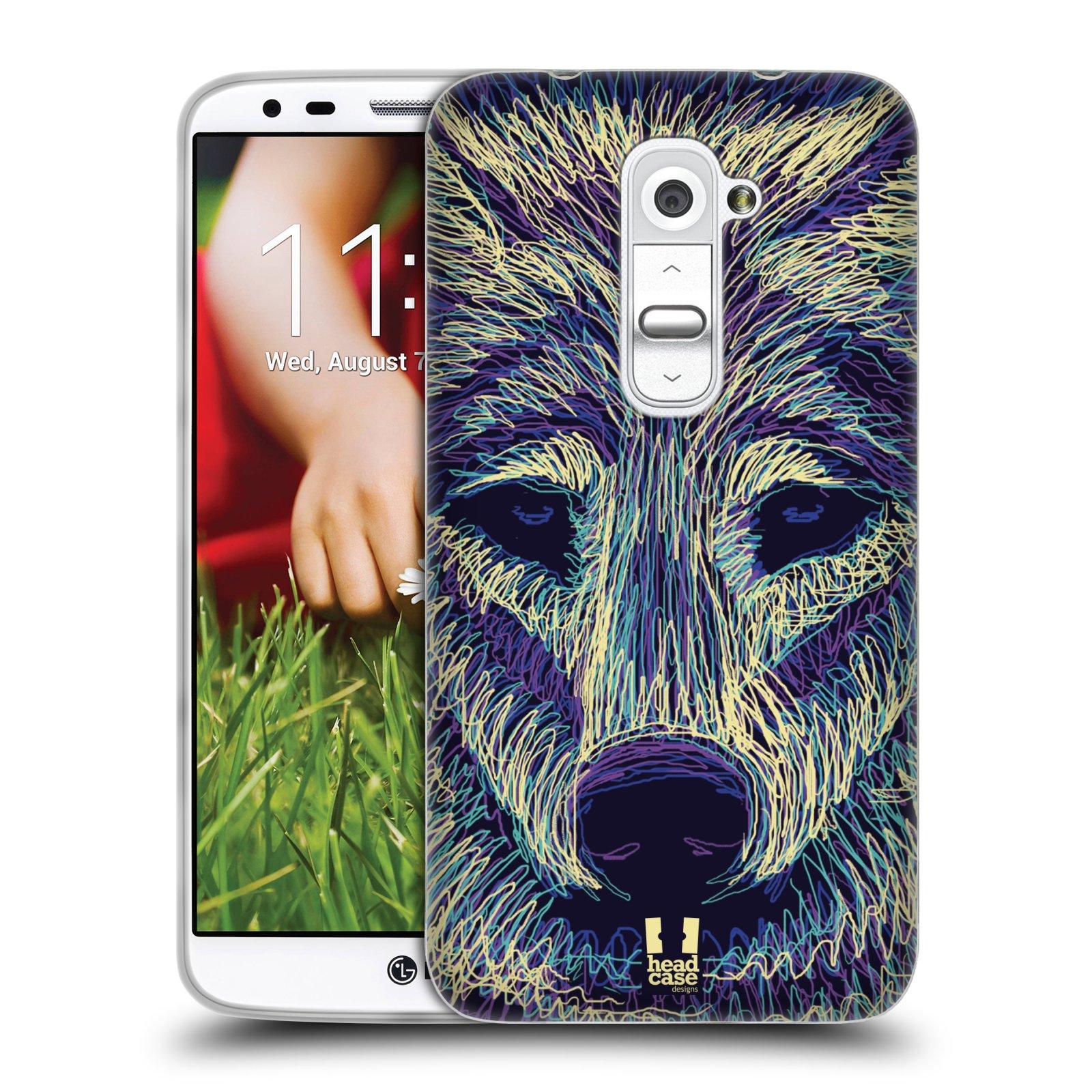 HEAD CASE silikonový obal na mobil LG G2 vzor zvíře čmáranice vlk