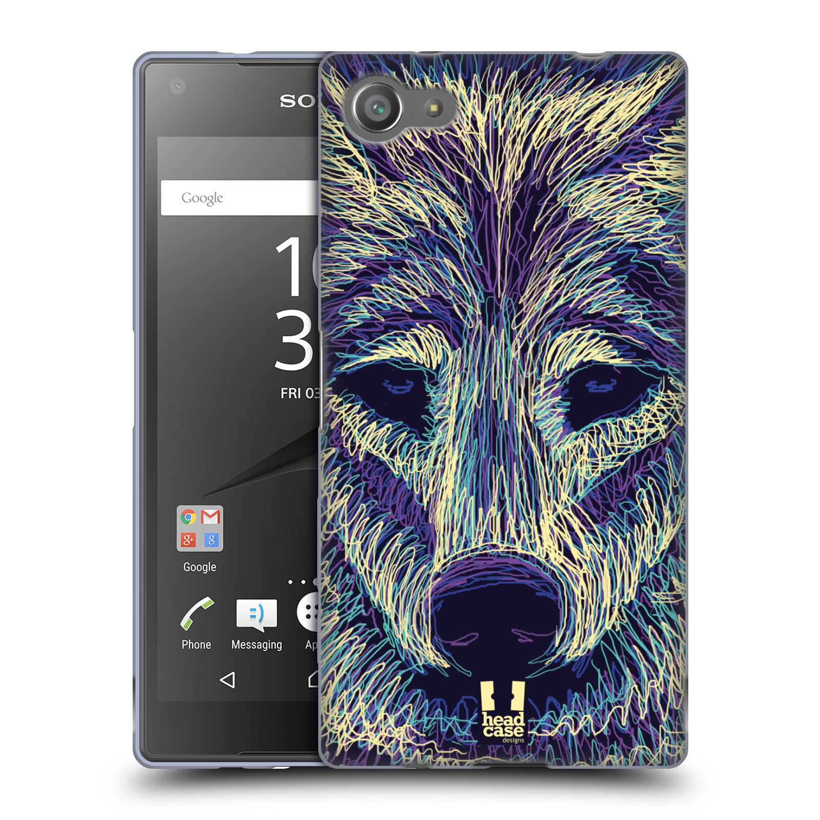 HEAD CASE silikonový obal na mobil Sony Xperia Z5 COMPACT vzor zvíře čmáranice vlk