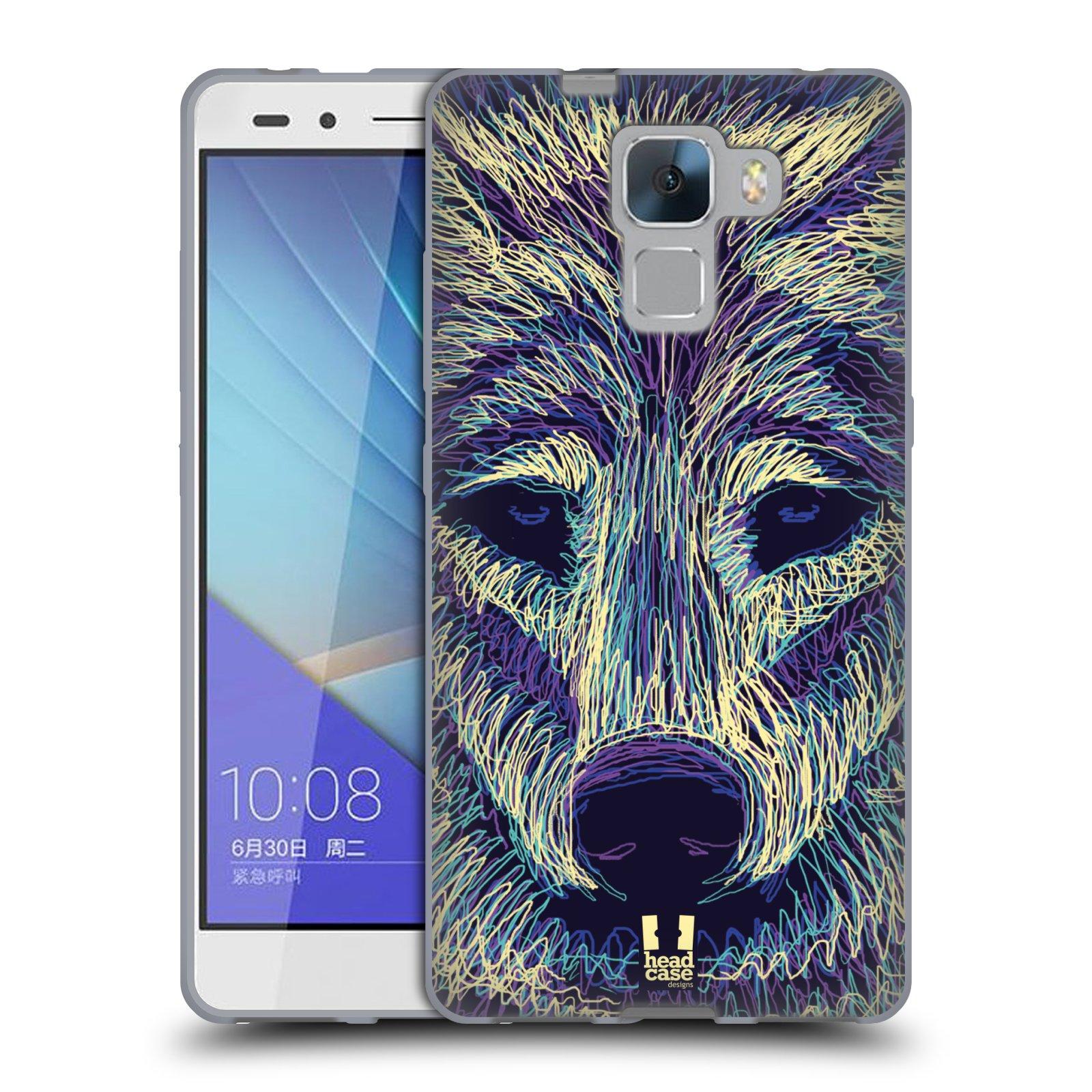 HEAD CASE silikonový obal na mobil HUAWEI HONOR 7 vzor zvíře čmáranice vlk