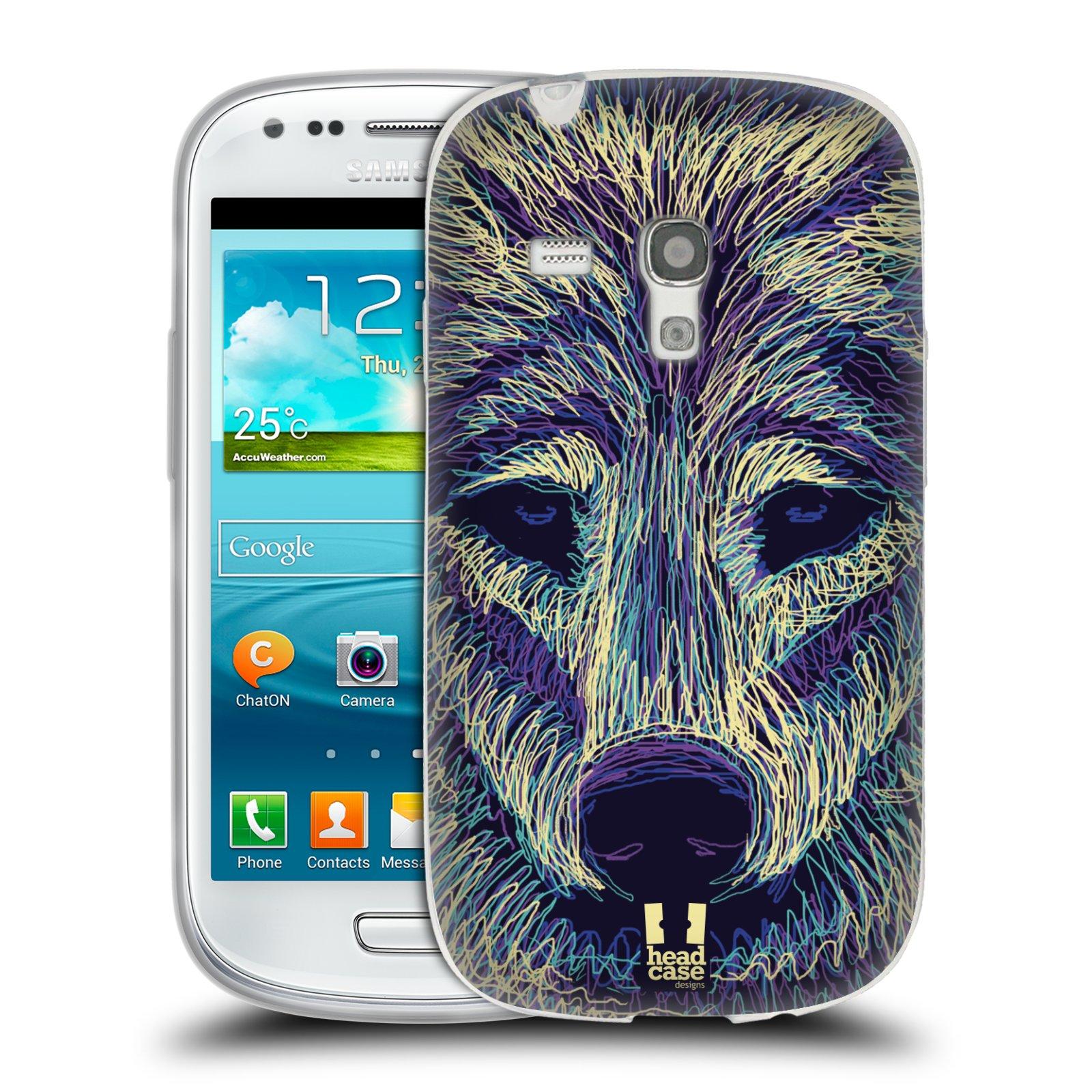 HEAD CASE silikonový obal na mobil Samsung Galaxy S3 MINI i8190 vzor zvíře čmáranice vlk