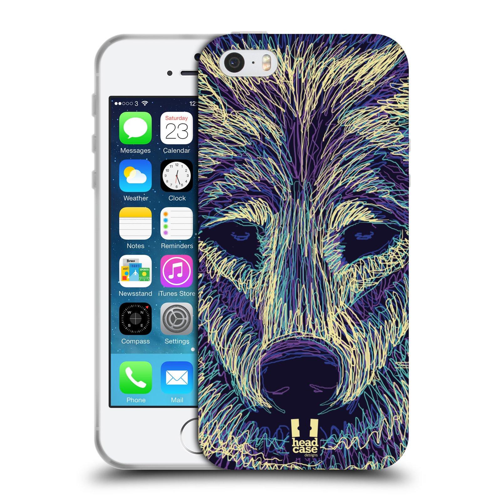 HEAD CASE silikonový obal na mobil Apple Iphone SE vzor zvíře čmáranice vlk bae1f522829