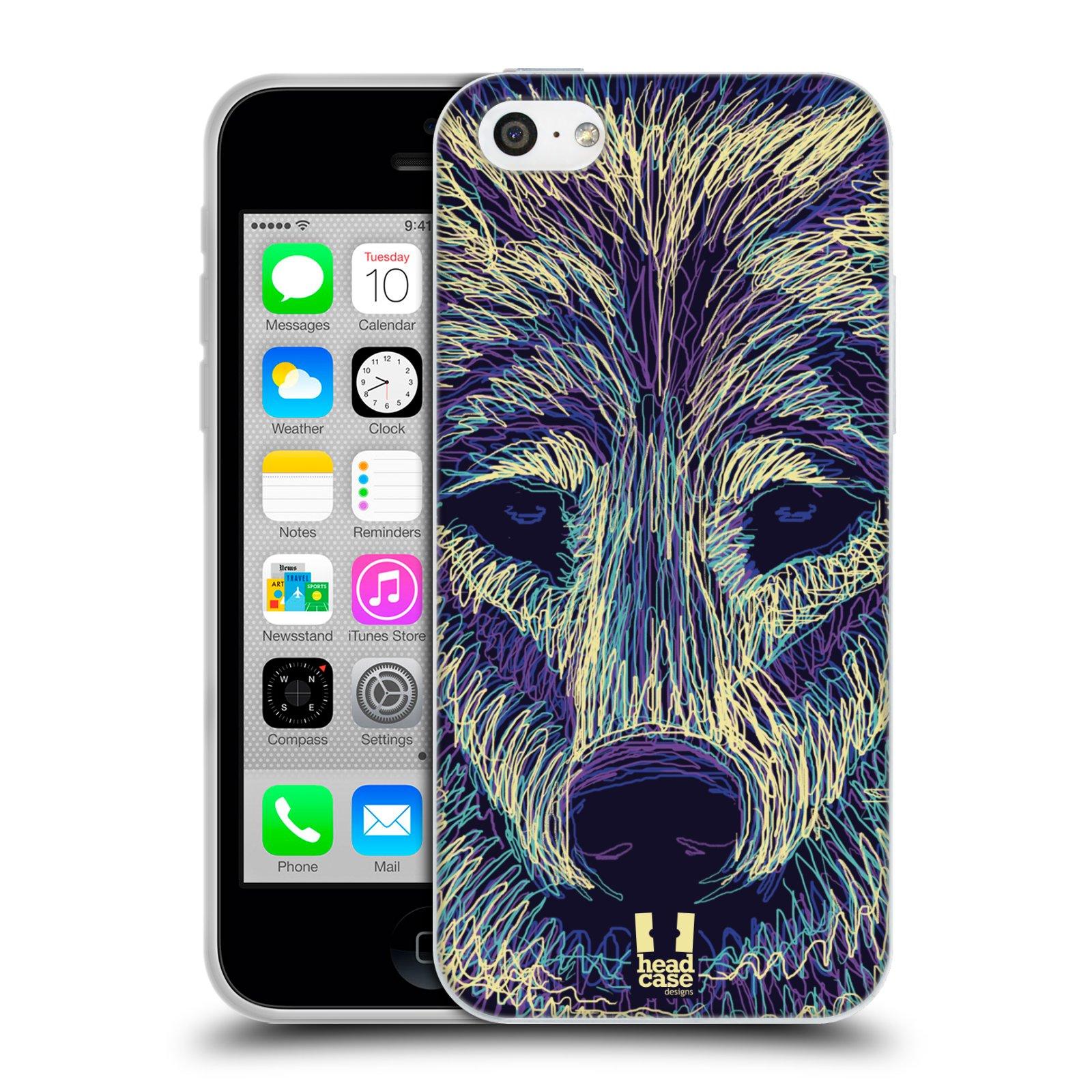 HEAD CASE silikonový obal na mobil Apple Iphone 5C vzor zvíře čmáranice vlk