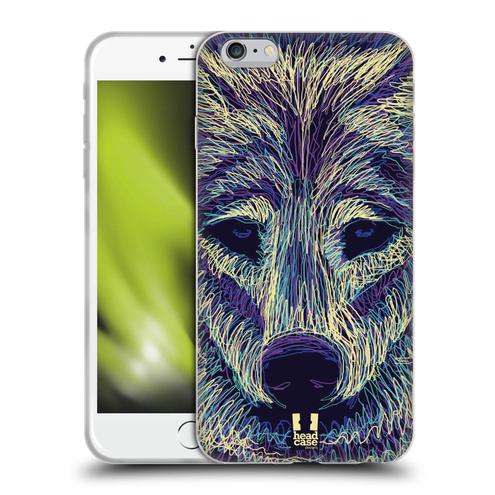 HEAD CASE silikonový obal na mobil Apple Iphone 6 PLUS/ 6S PLUS vzor zvíře čmáranice vlk