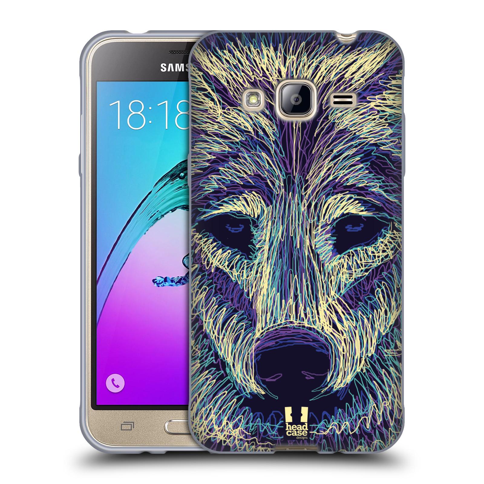 HEAD CASE silikonový obal na mobil Samsung Galaxy J3, J3 2016 vzor zvíře čmáranice vlk
