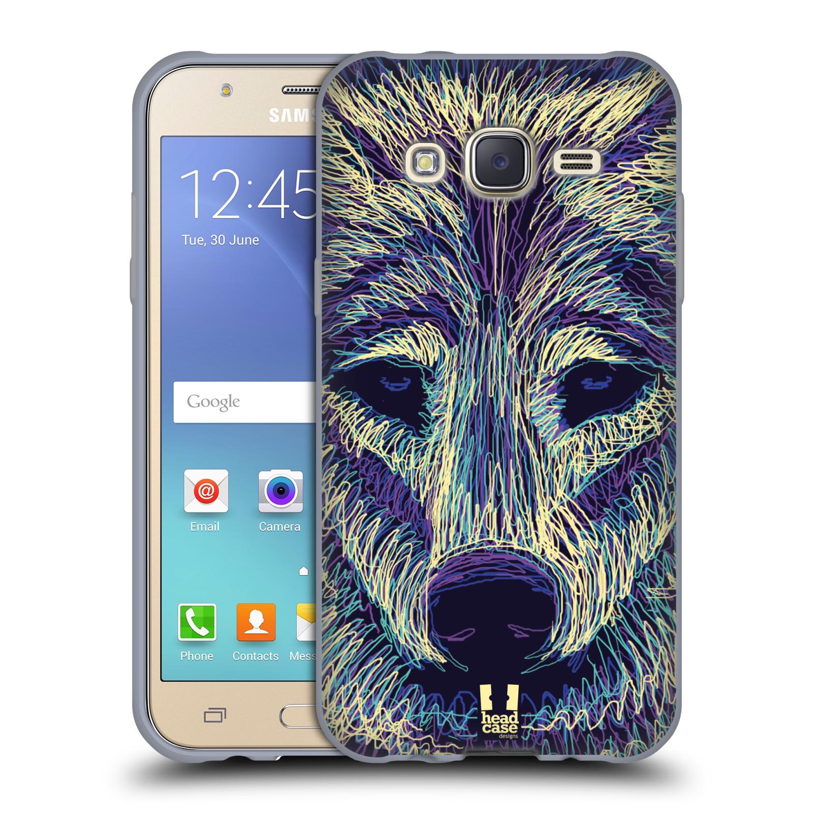 HEAD CASE silikonový obal na mobil Samsung Galaxy J5, J500, (J5 DUOS) vzor zvíře čmáranice vlk