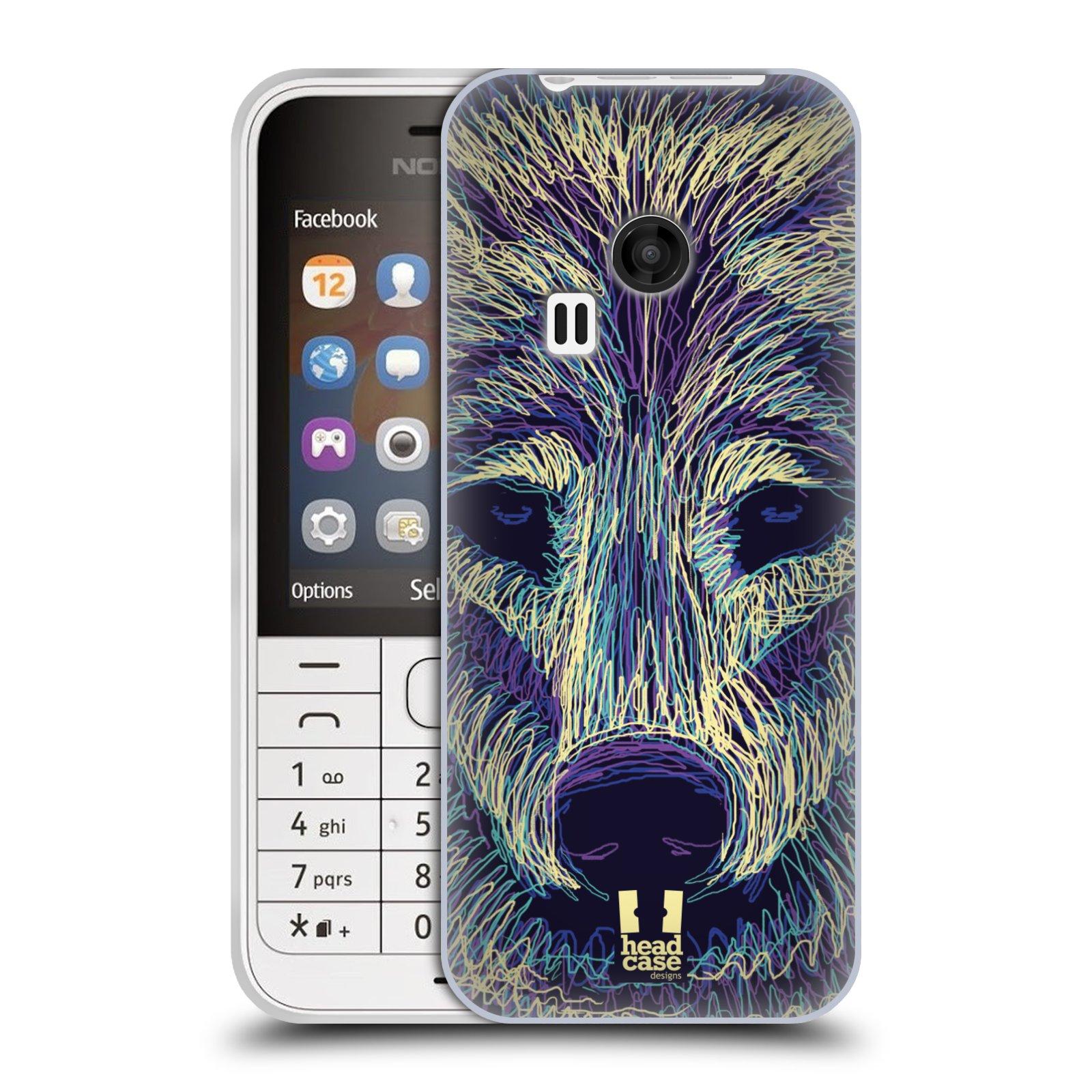 HEAD CASE silikonový obal na mobil NOKIA 220 / NOKIA 220 DUAL SIM vzor zvíře čmáranice vlk