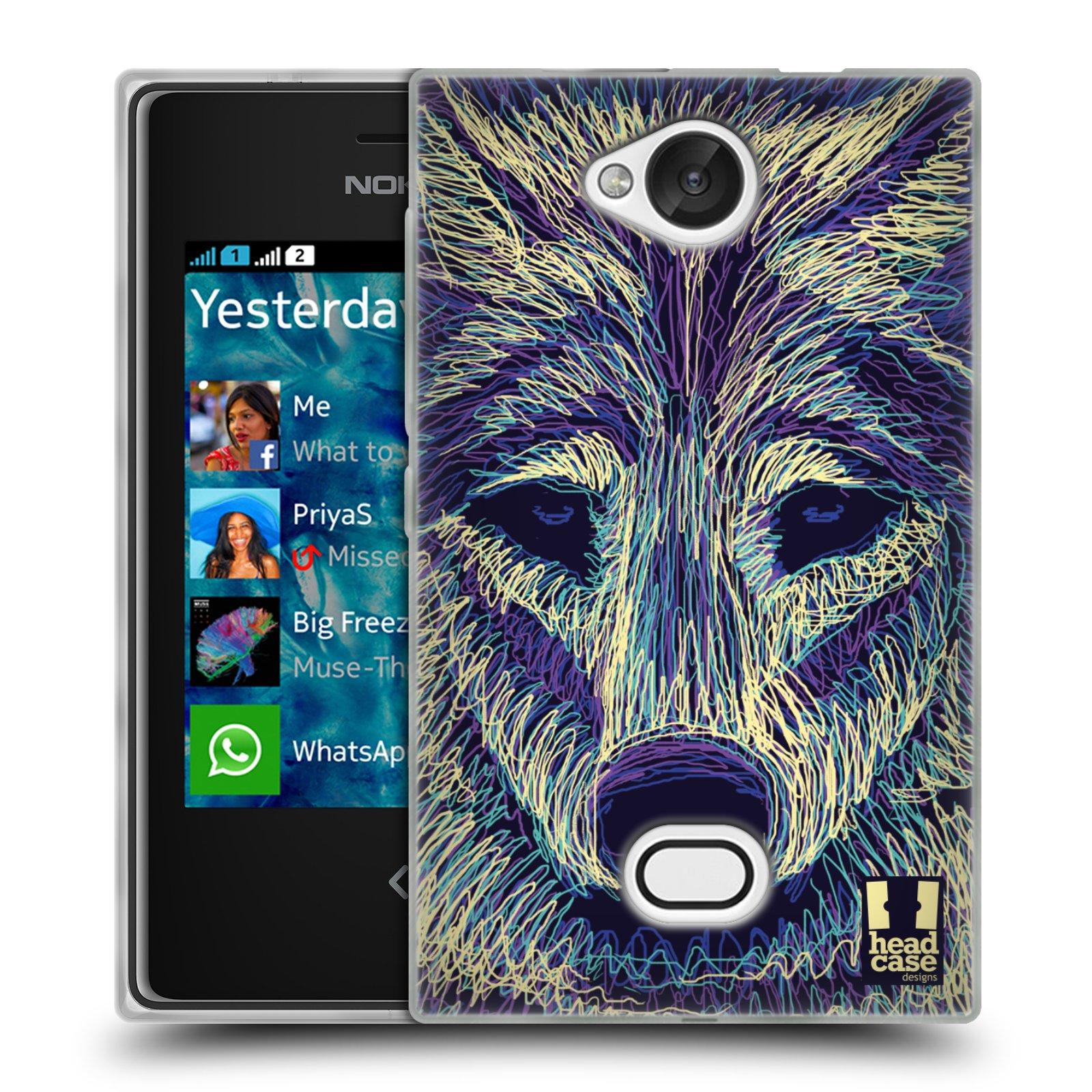 HEAD CASE silikonový obal na mobil NOKIA Asha 503 vzor zvíře čmáranice vlk
