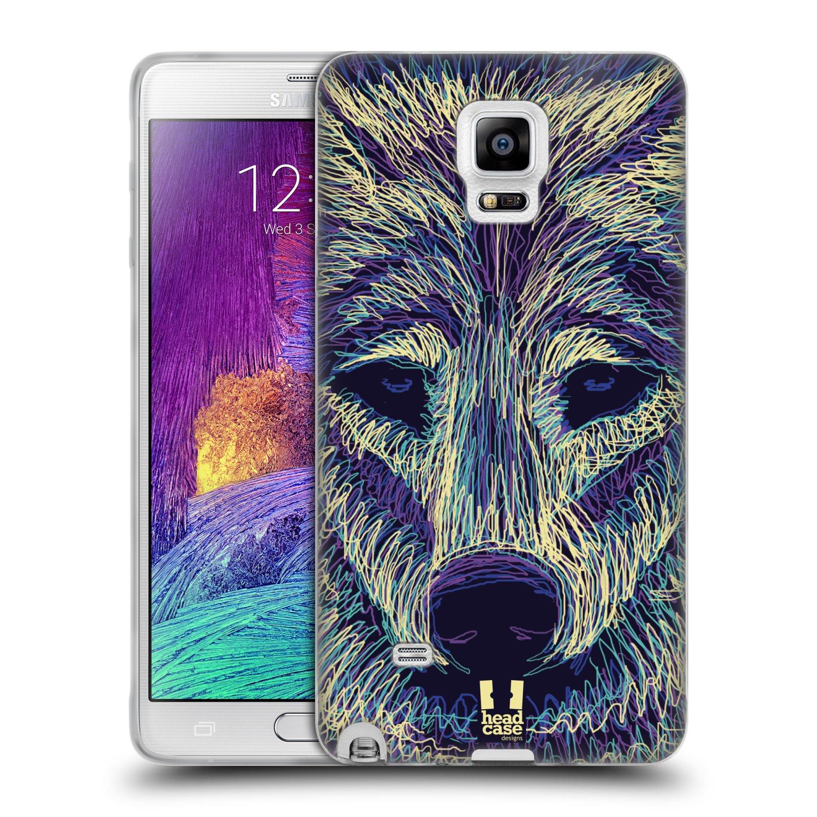 HEAD CASE silikonový obal na mobil Samsung Galaxy Note 4 (N910) vzor zvíře čmáranice vlk