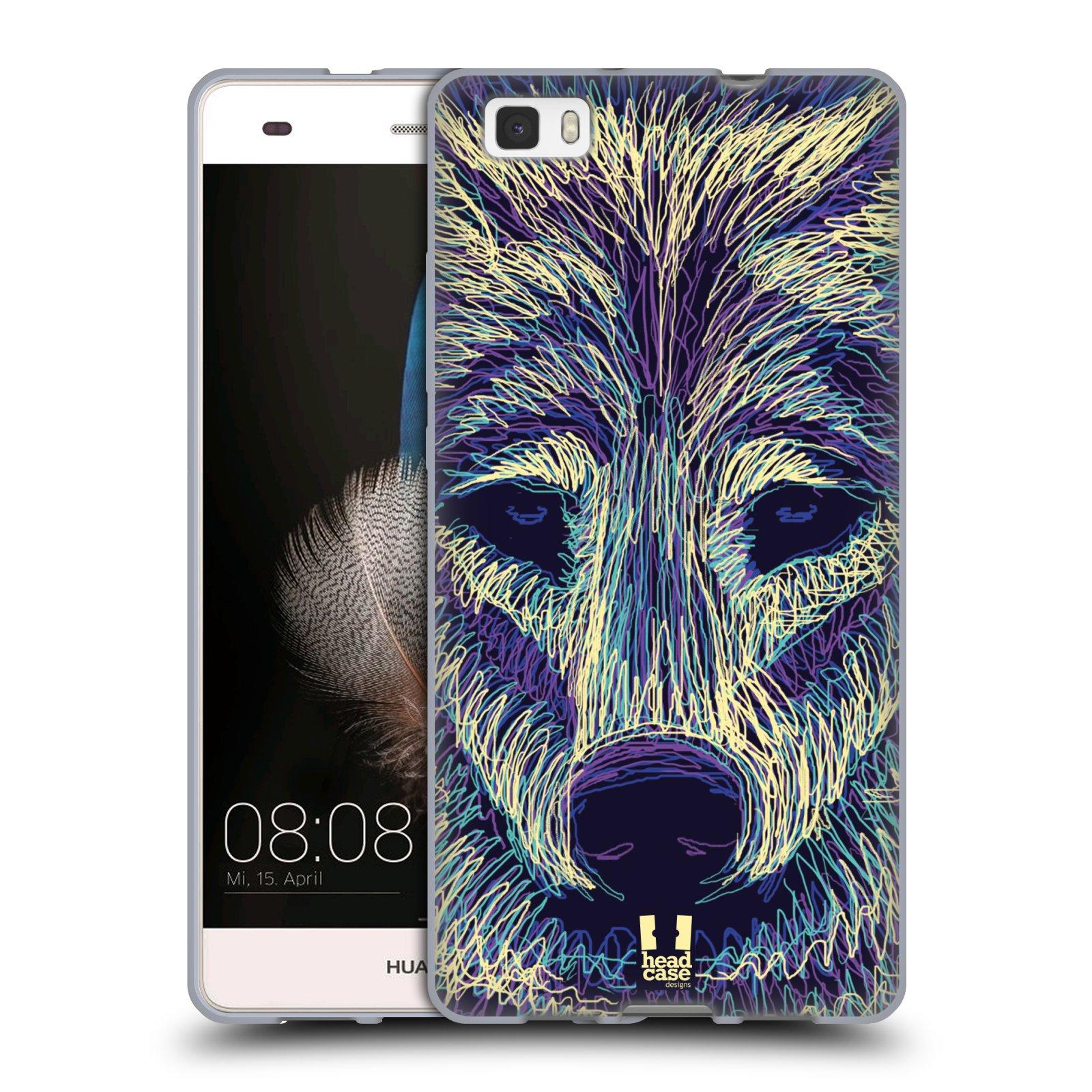 HEAD CASE silikonový obal na mobil HUAWEI P8 LITE vzor zvíře čmáranice vlk
