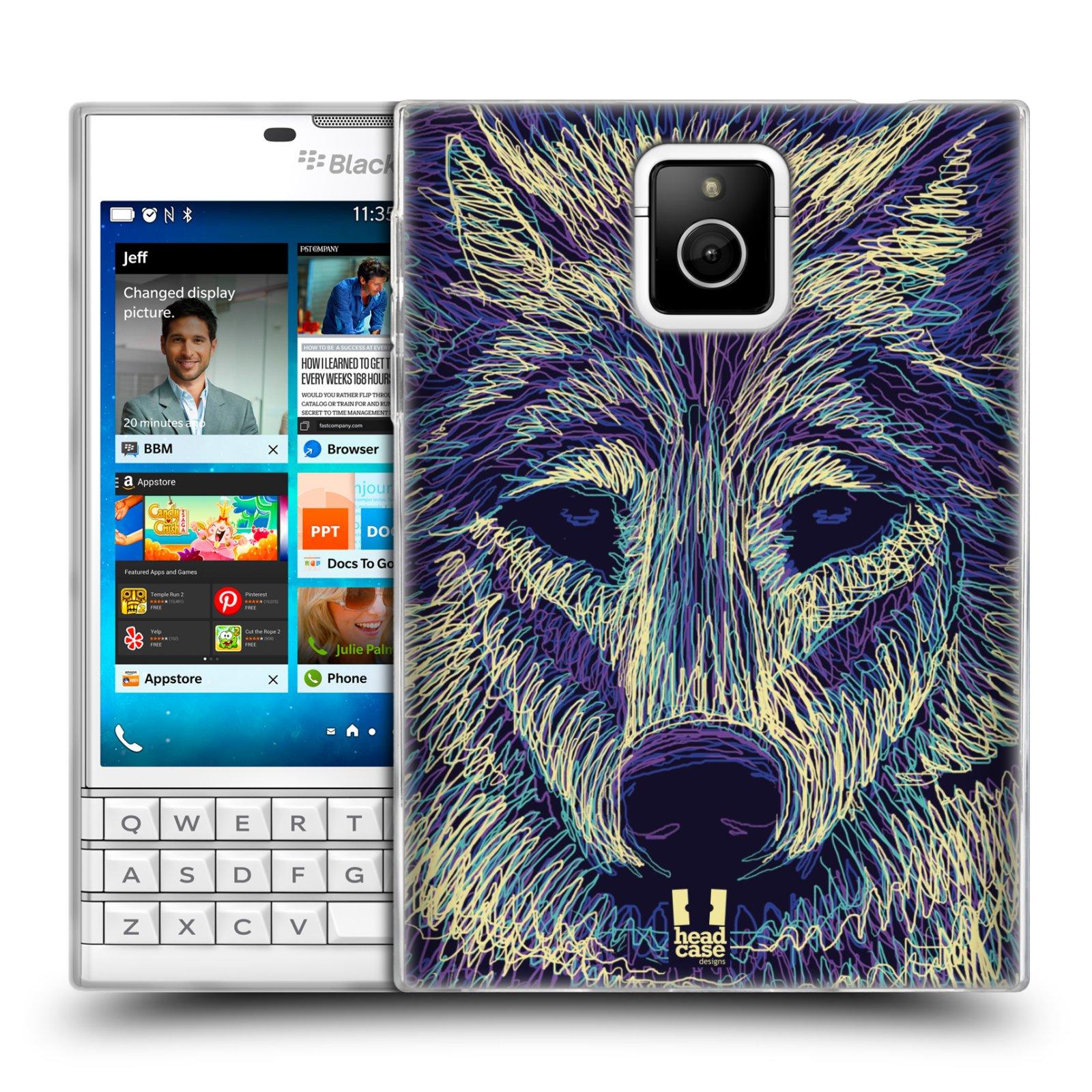HEAD CASE silikonový obal na mobil Blackberry PASSPORT vzor zvíře čmáranice vlk