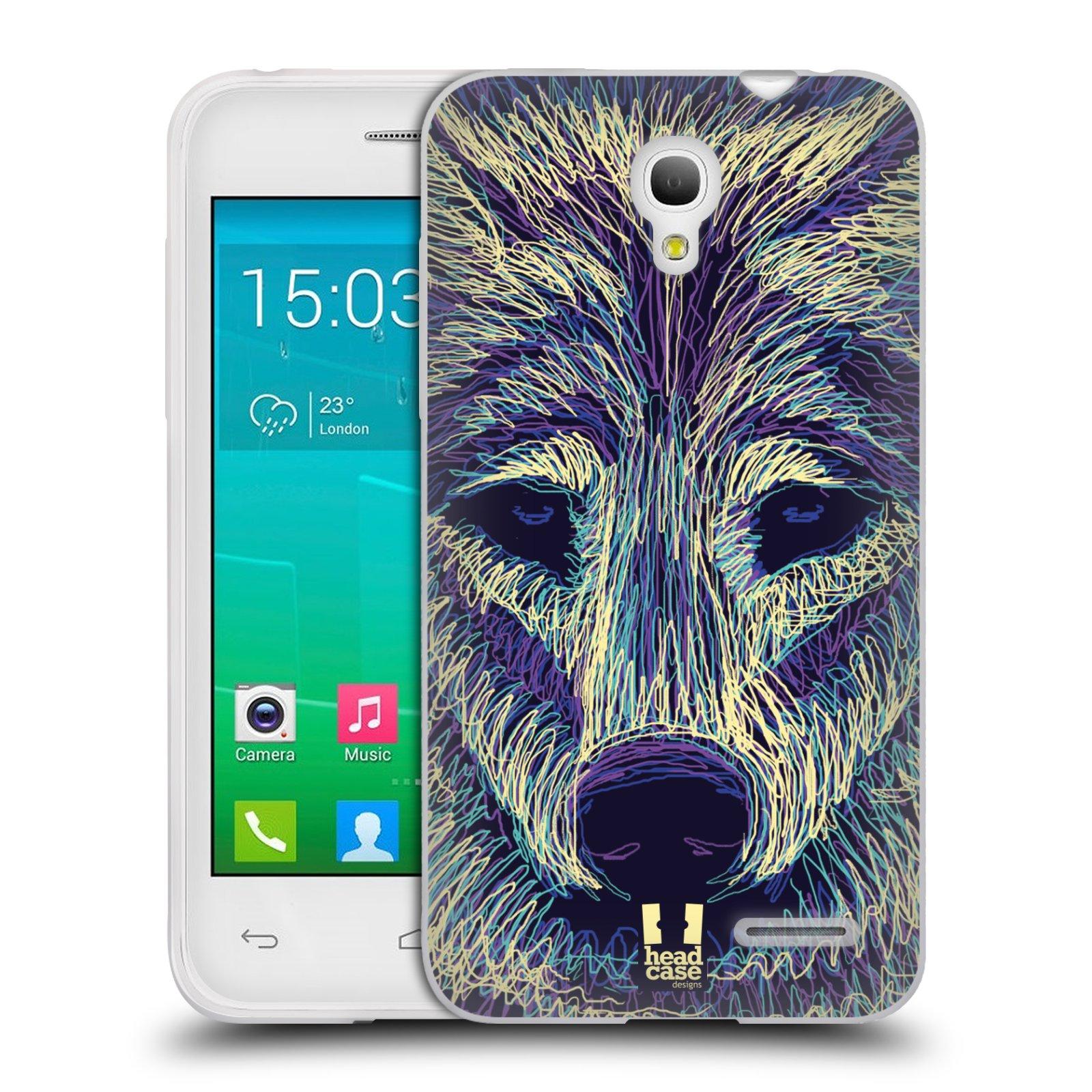 HEAD CASE silikonový obal na mobil Alcatel POP S3 OT-5050Y vzor zvíře čmáranice vlk