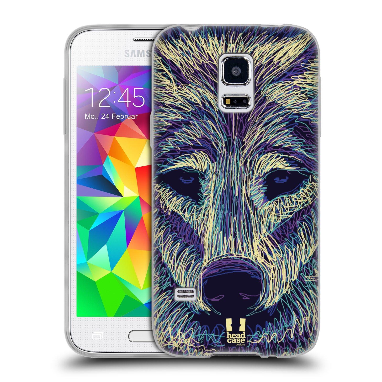 HEAD CASE silikonový obal na mobil Samsung Galaxy S5 MINI vzor zvíře čmáranice vlk