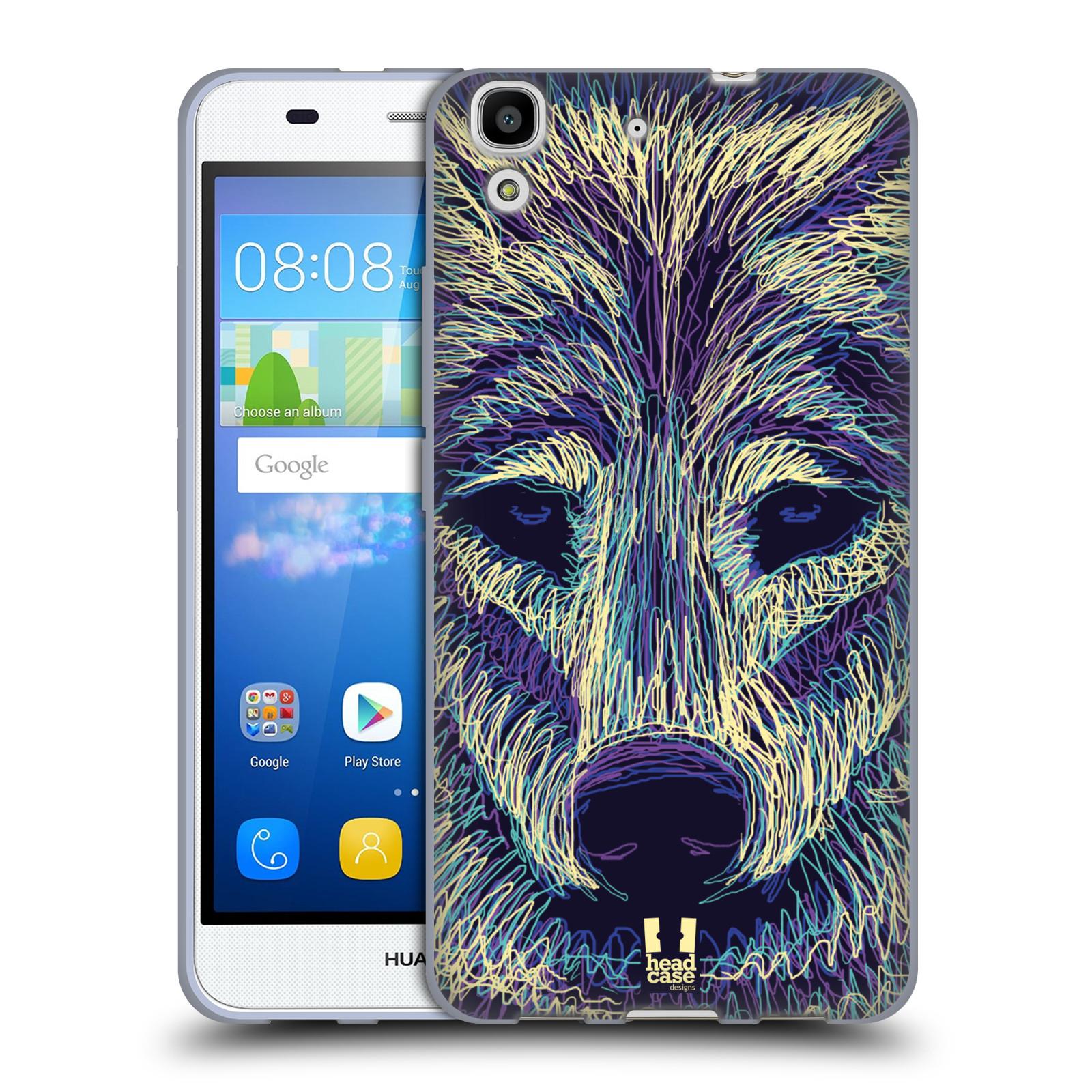HEAD CASE silikonový obal na mobil HUAWEI Y6 vzor zvíře čmáranice vlk
