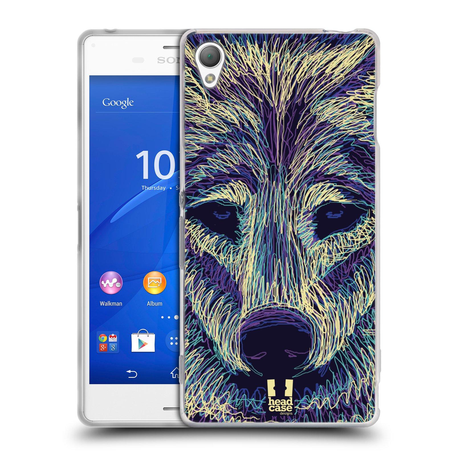 HEAD CASE silikonový obal na mobil Sony Xperia Z3 vzor zvíře čmáranice vlk
