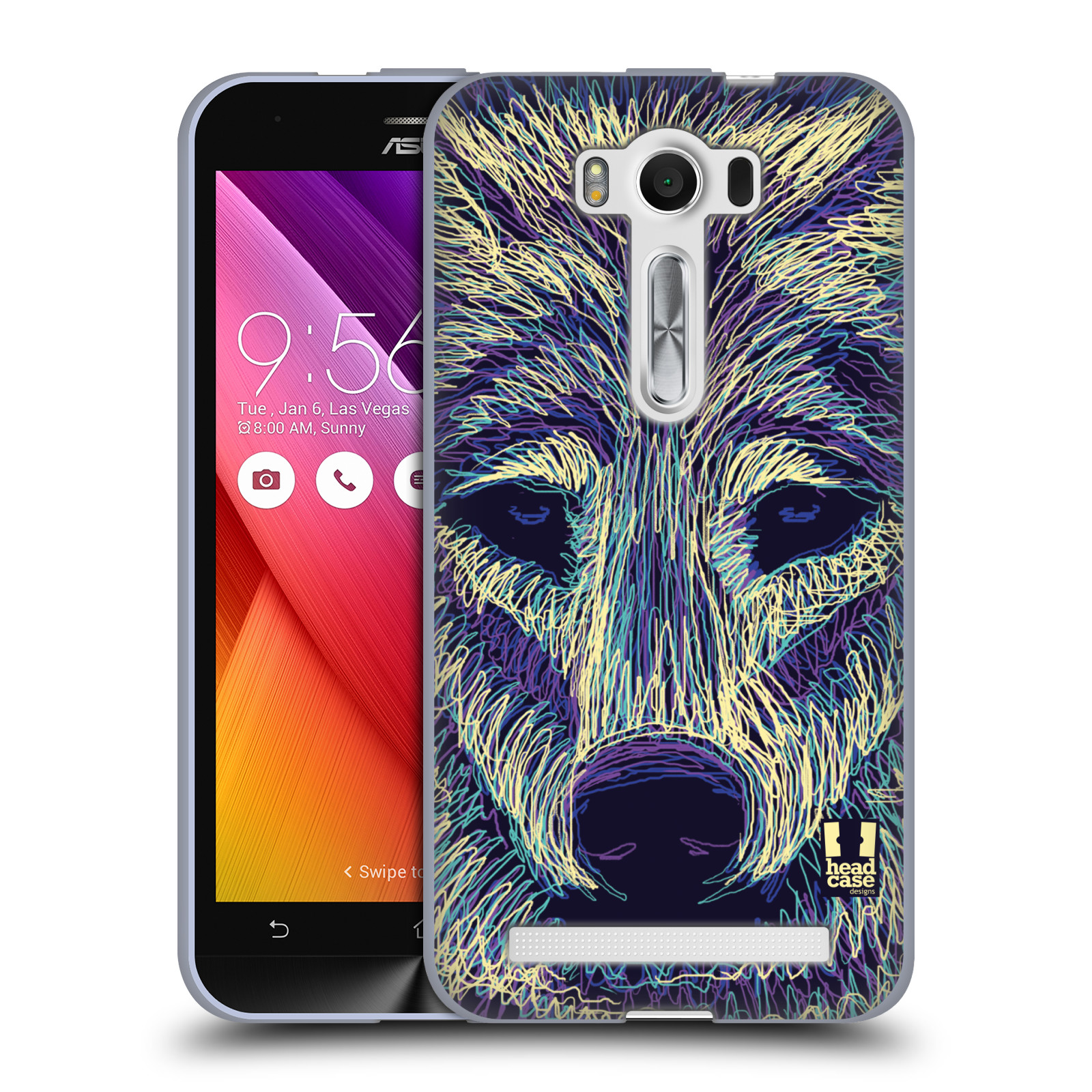 "HEAD CASE silikonový obal na mobil Asus Zenfone 2 LASER (ZE500KL s 5"" displejem) vzor zvíře čmáranice vlk"