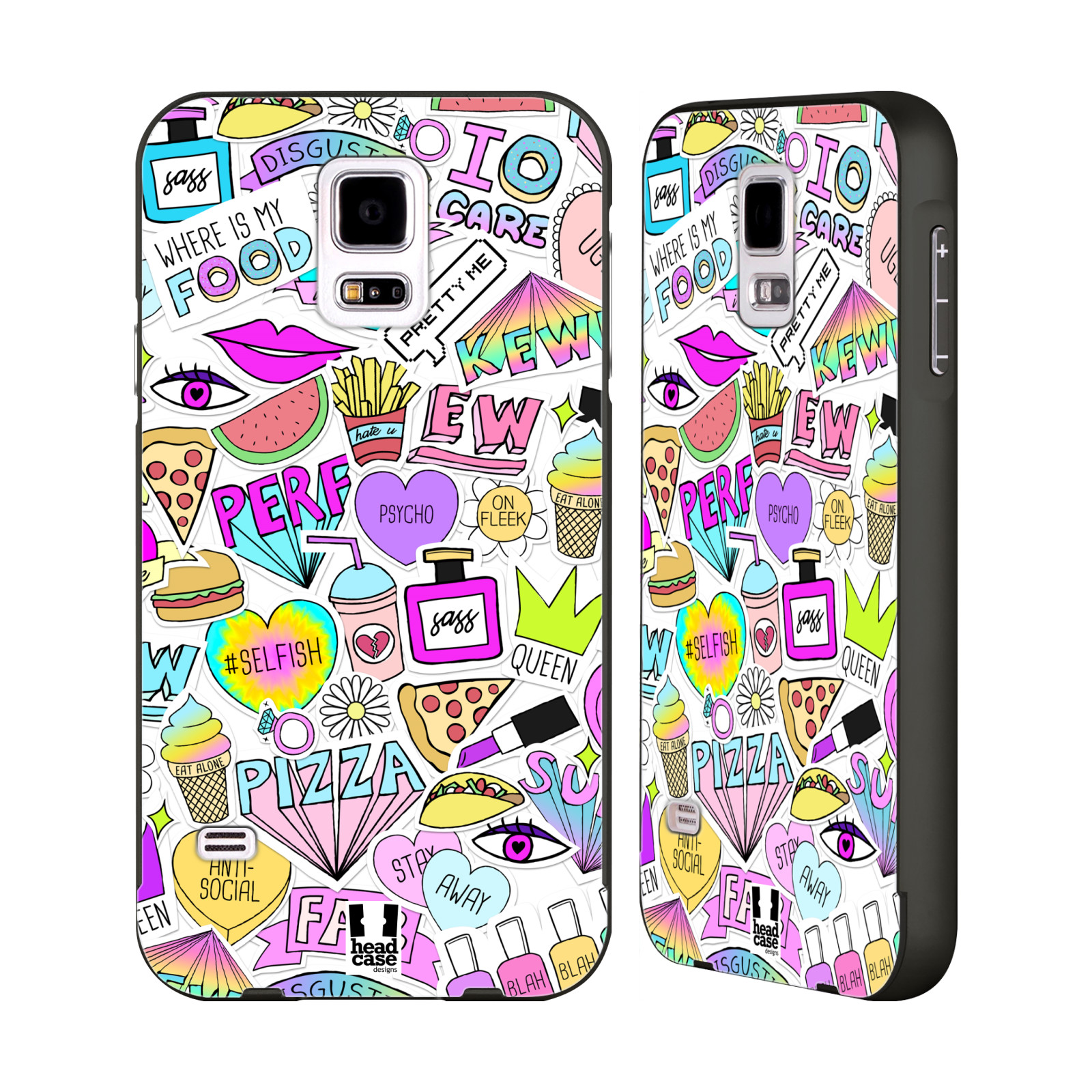 Head case designs sassy stickers black bumper slider case for Cell phone cover design ideas