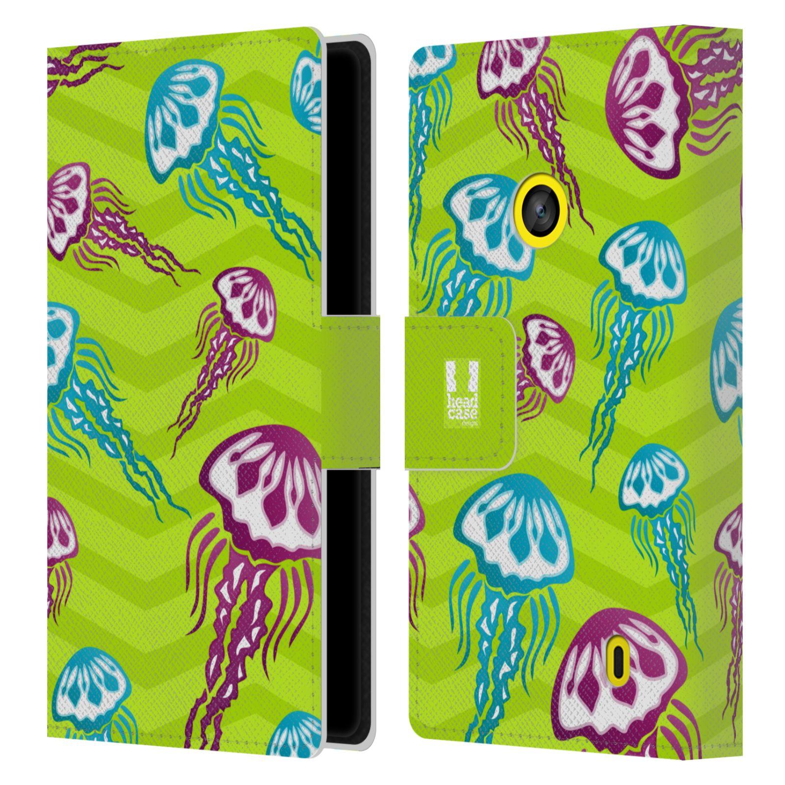 HEAD CASE Flipové pouzdro pro mobil NOKIA LUMIA 520 / 525 Mořský živočich medůza zelená barva