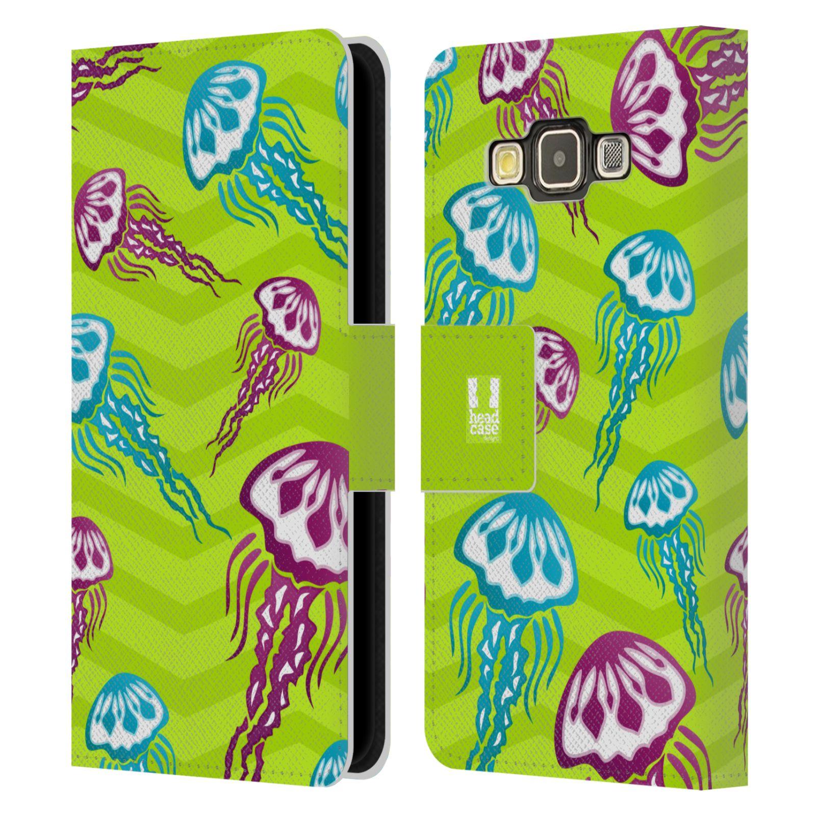 HEAD CASE Flipové pouzdro pro mobil Samsung Galaxy A3 Mořský živočich medůza zelená barva
