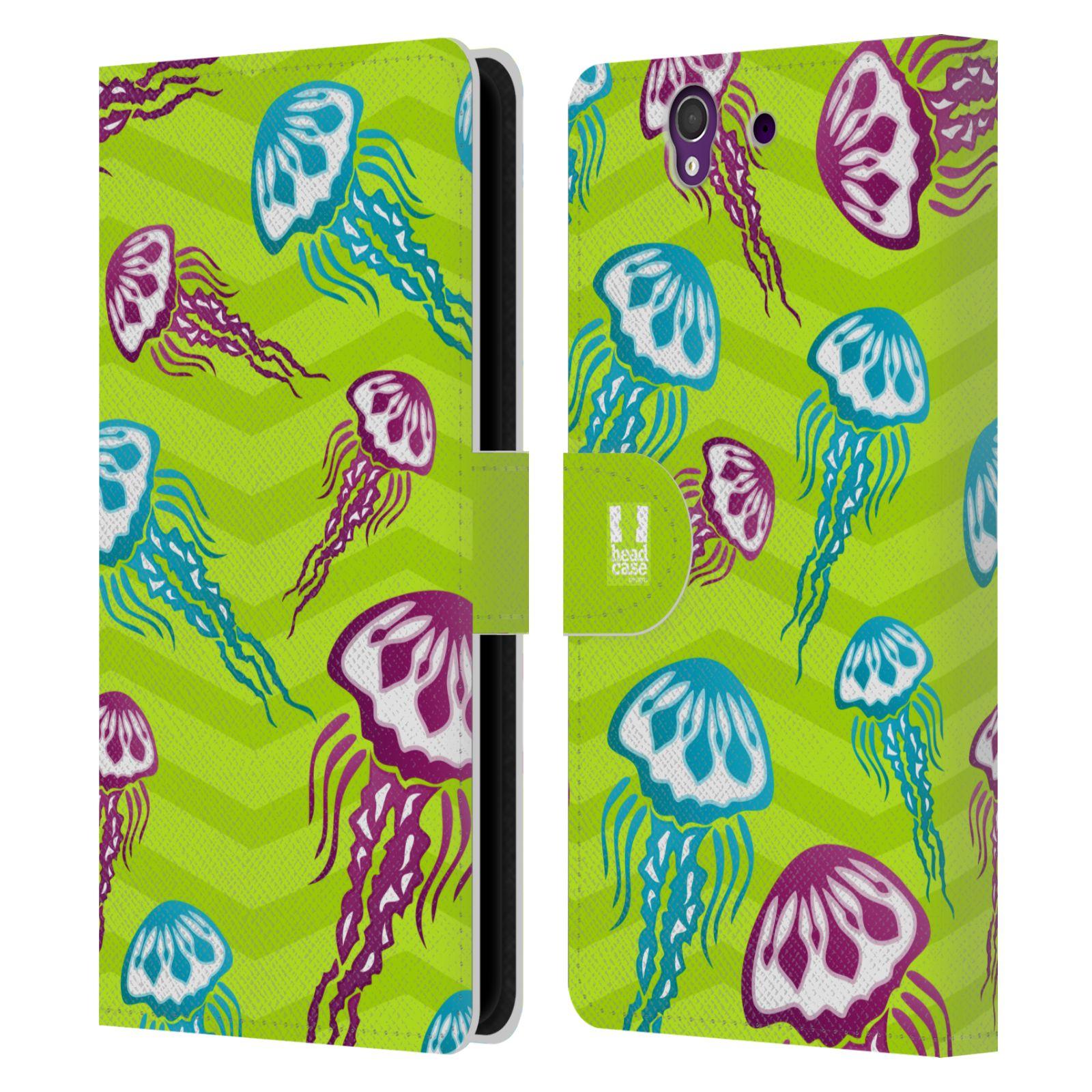 HEAD CASE Flipové pouzdro pro mobil SONY XPERIA Z (C6603) Mořský živočich medůza zelená barva