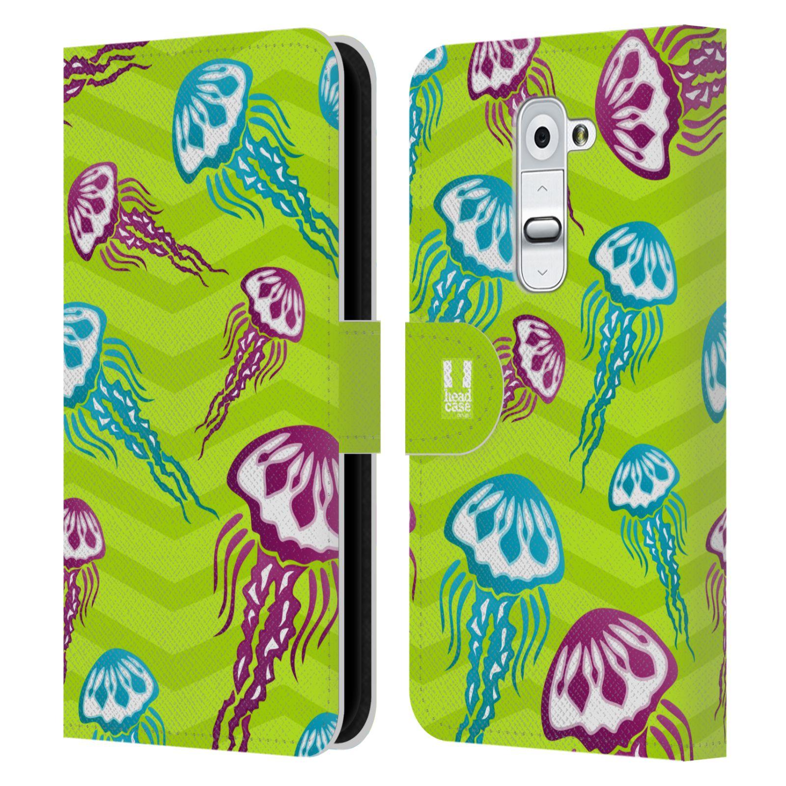 HEAD CASE Flipové pouzdro pro mobil LG G2 (D802) Mořský živočich medůza zelená barva