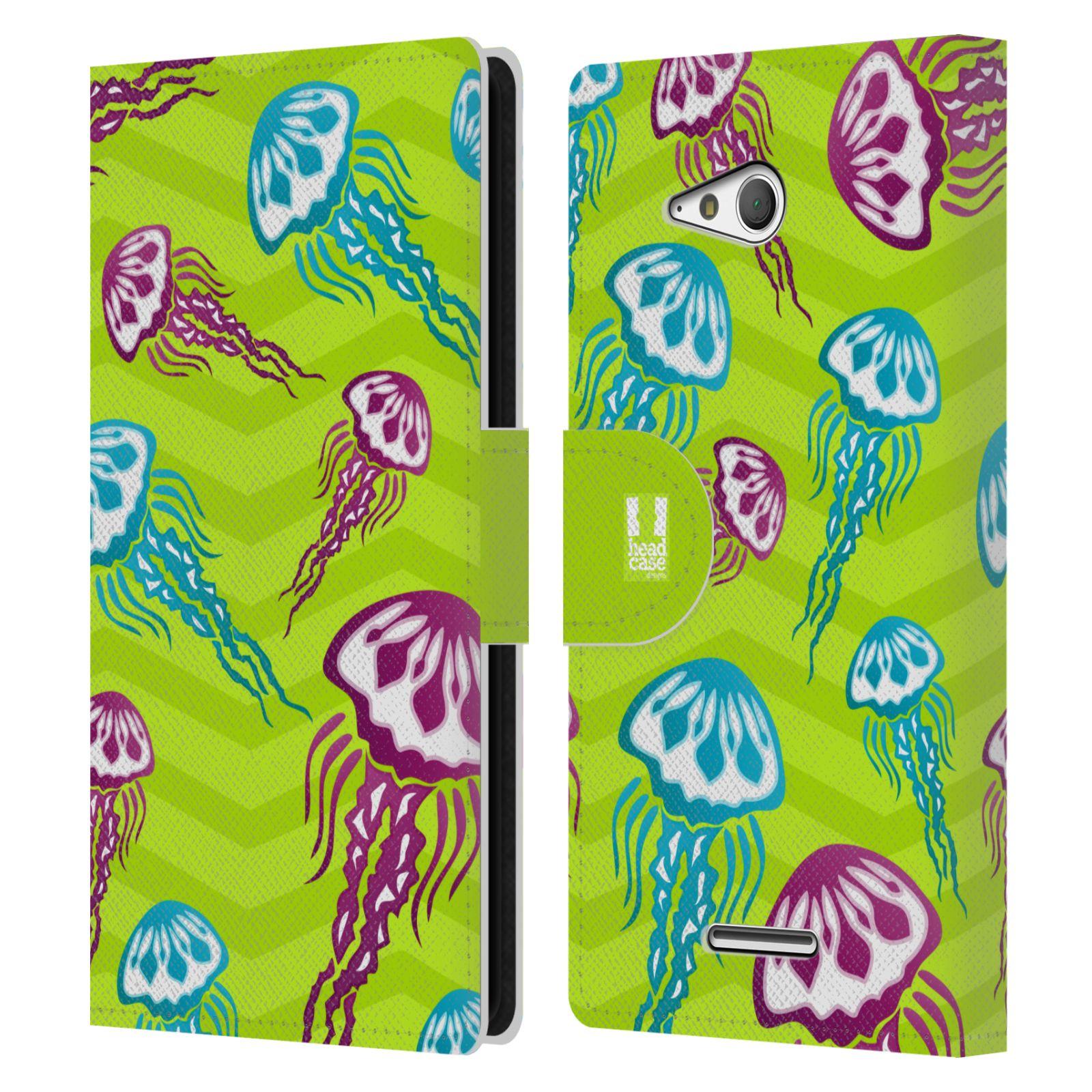 HEAD CASE Flipové pouzdro pro mobil SONY XPERIA E4g Mořský živočich medůza zelená barva