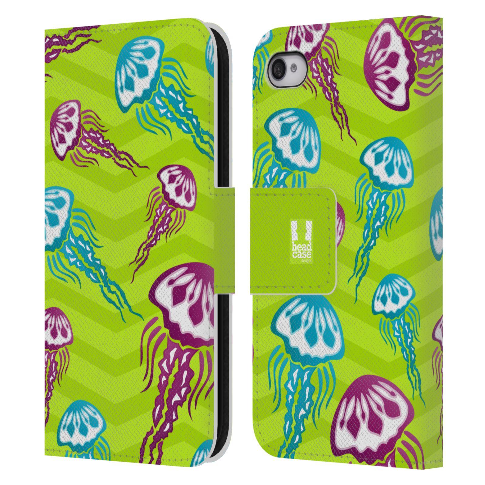 HEAD CASE Flipové pouzdro pro mobil Apple Iphone 4/4s Mořský živočich medůza zelená barva