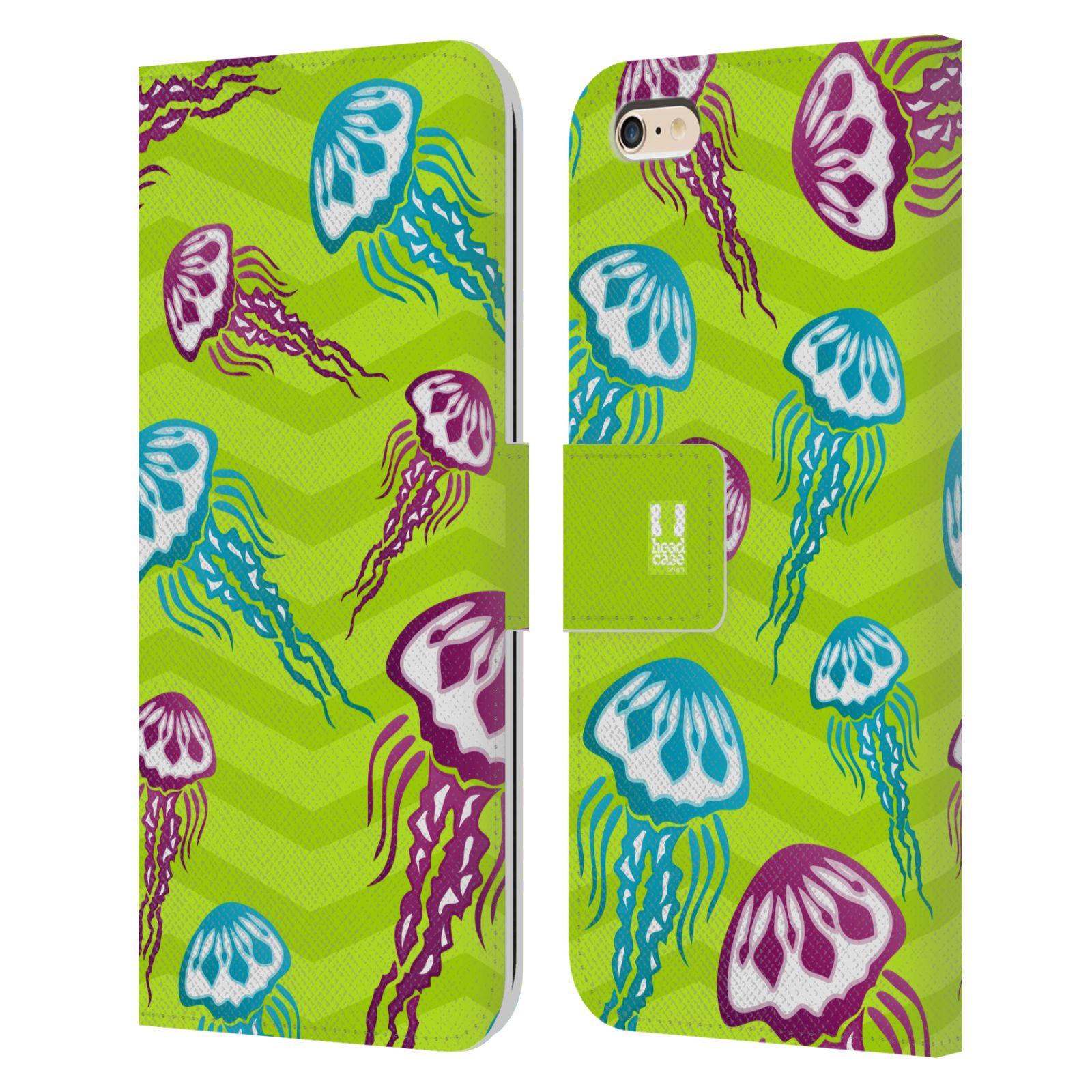 HEAD CASE Flipové pouzdro pro mobil Apple Iphone 6 PLUS / 6S PLUS Mořský živočich medůza zelená barva