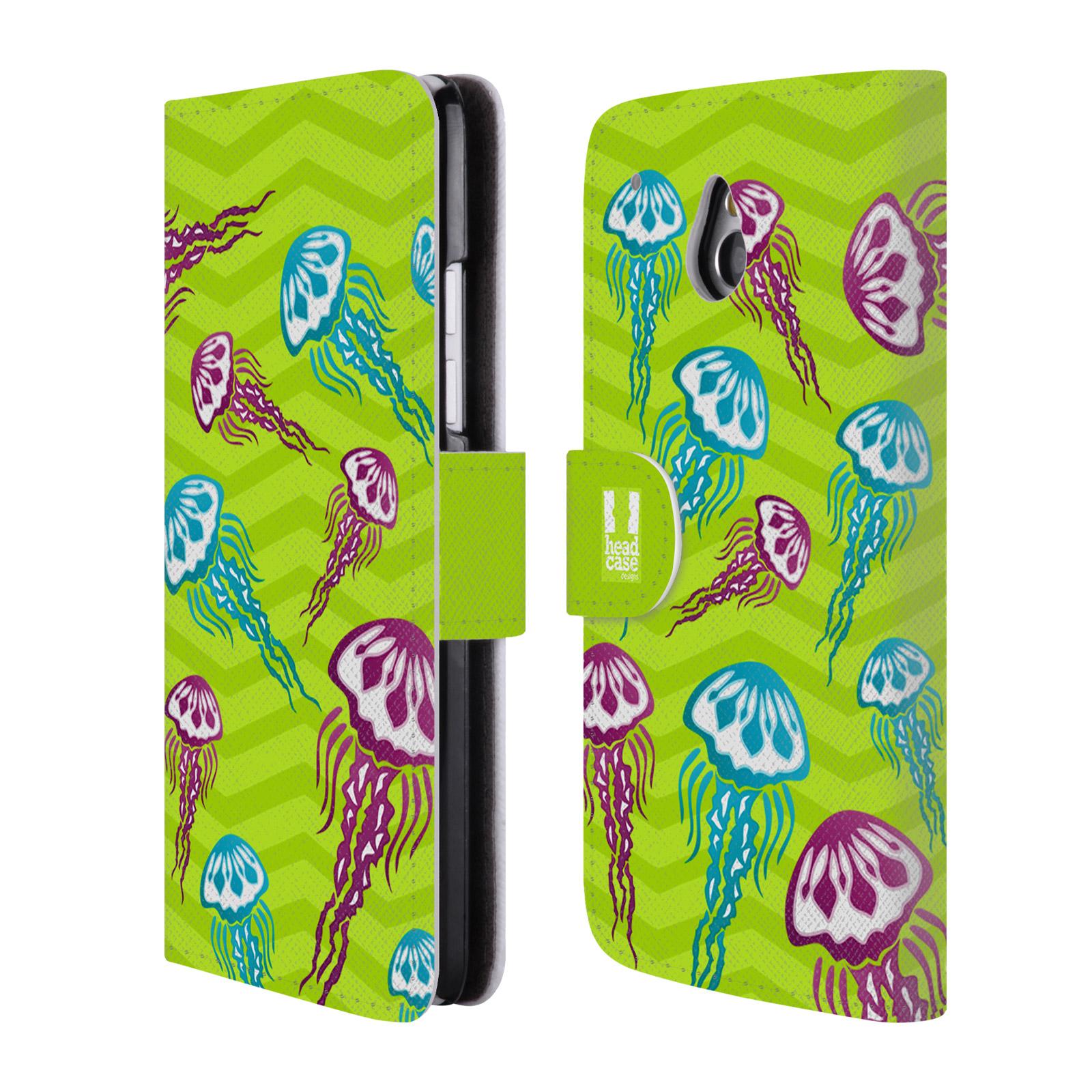 HEAD CASE Flipové pouzdro pro mobil HTC ONE MINI (M4) Mořský živočich medůza zelená barva