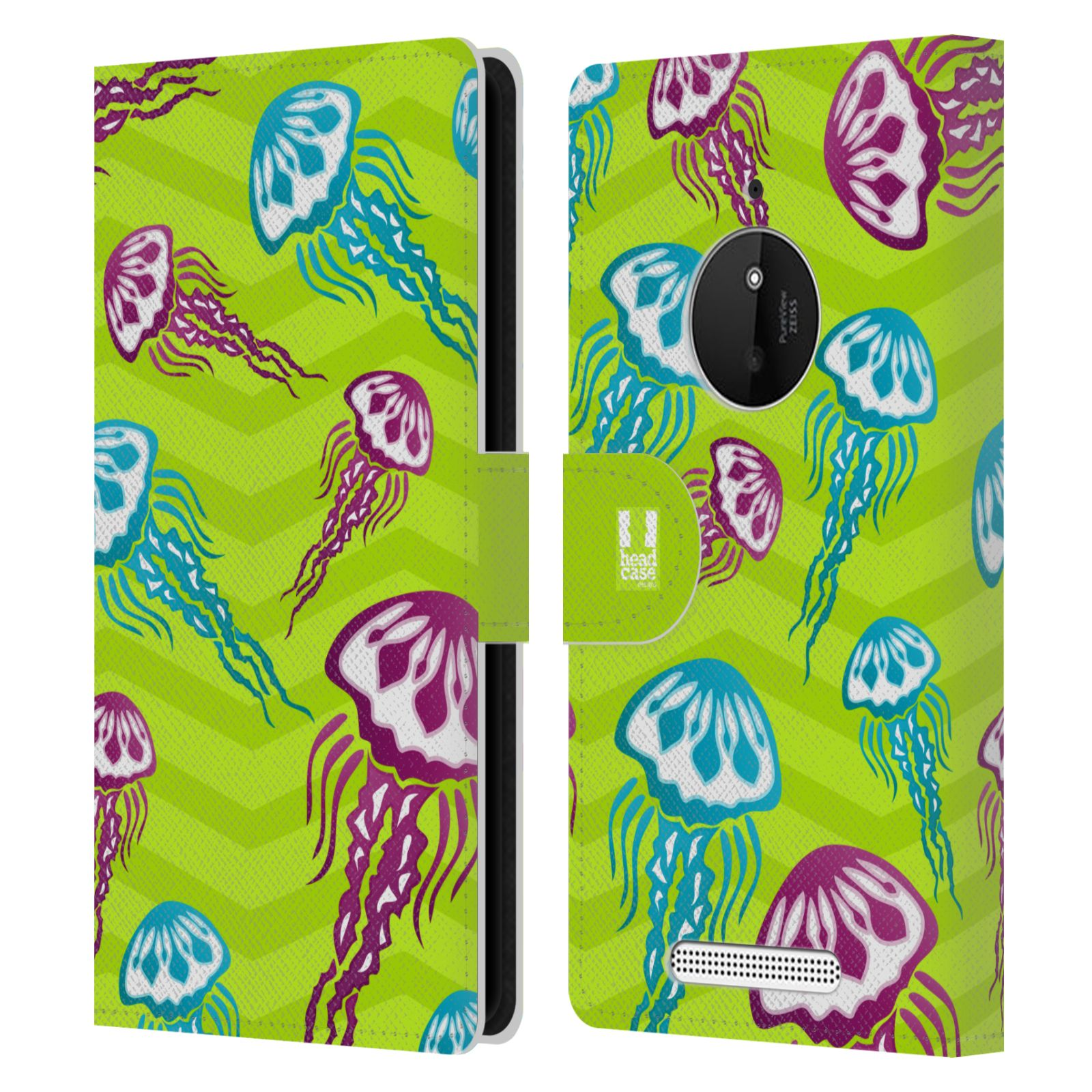 HEAD CASE Flipové pouzdro pro mobil NOKIA LUMIA 830 Mořský živočich medůza zelená barva