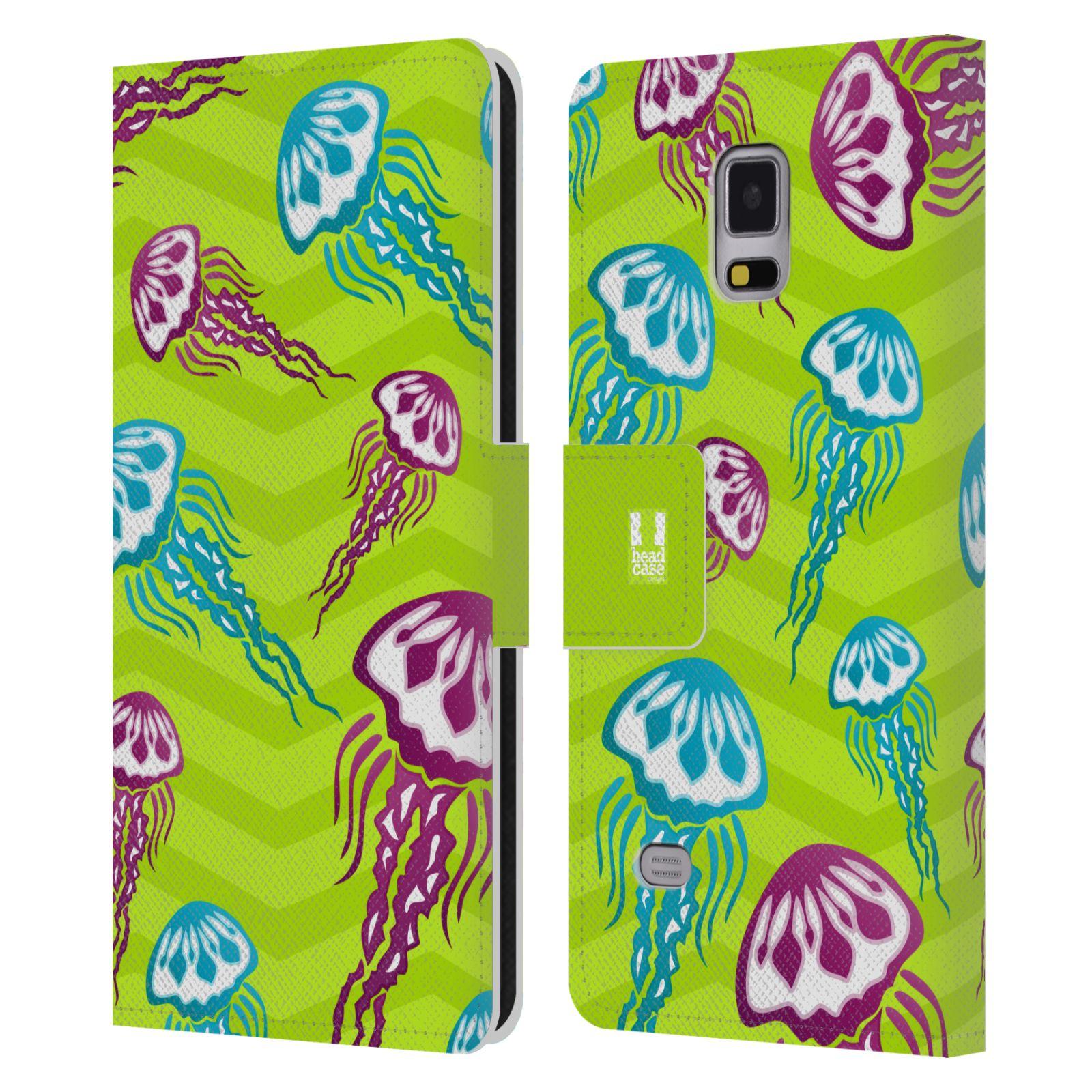 HEAD CASE Flipové pouzdro pro mobil Samsung Galaxy Note 4 Mořský živočich medůza zelená barva