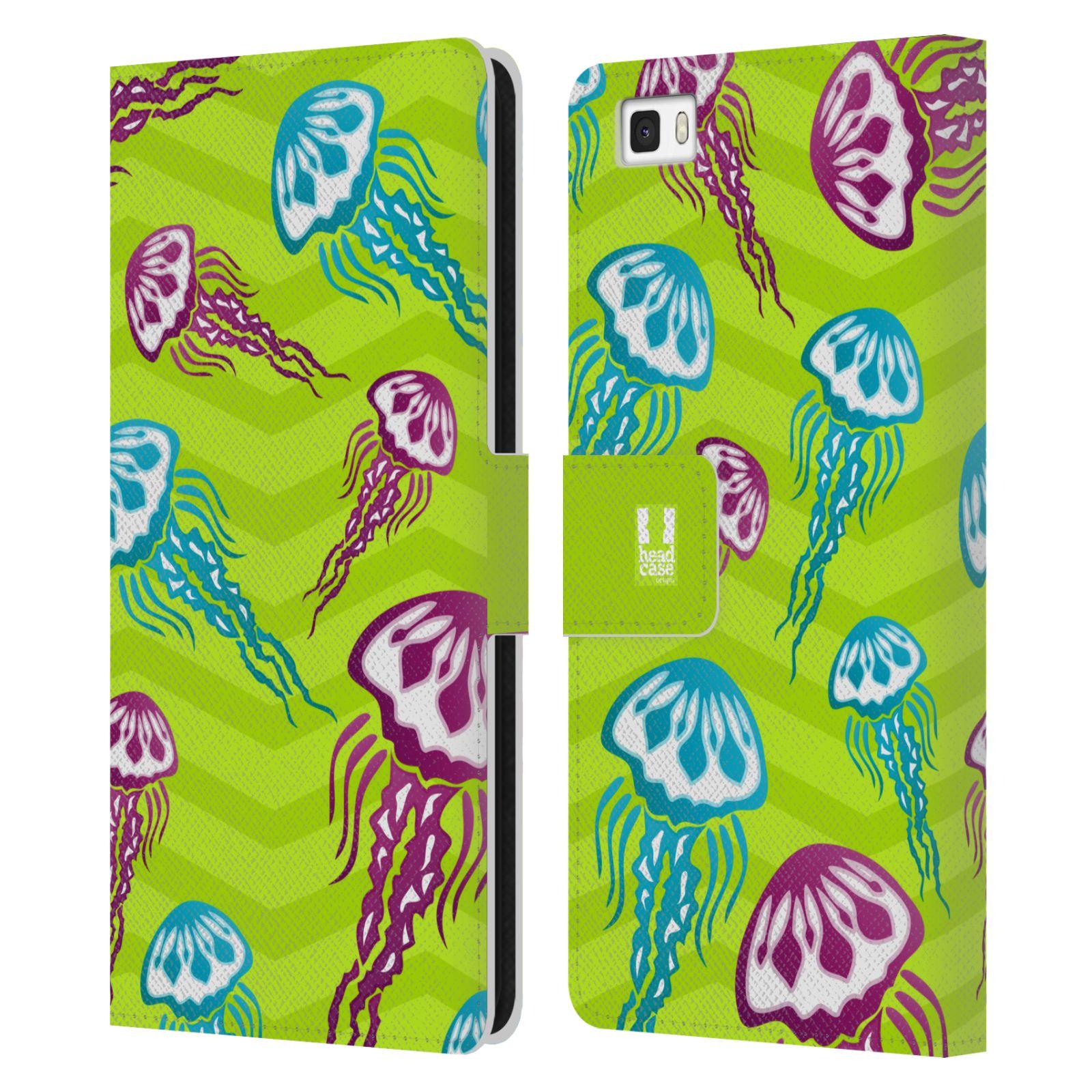 HEAD CASE Flipové pouzdro pro mobil Huawei P8 LITE Mořský živočich medůza zelená barva