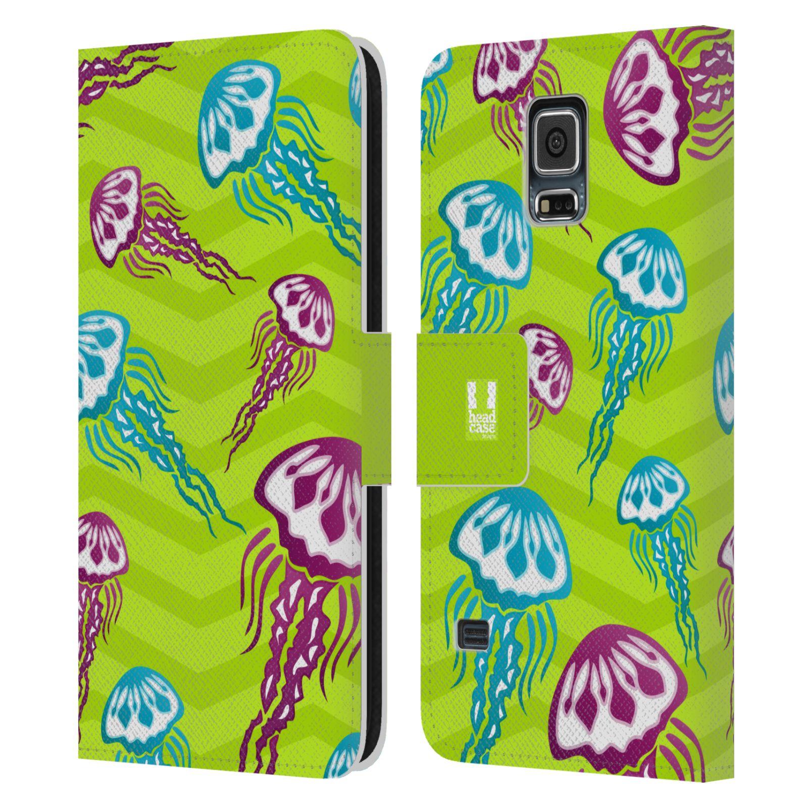 HEAD CASE Flipové pouzdro pro mobil Samsung Galaxy S5 / S5 NEO Mořský živočich medůza zelená barva