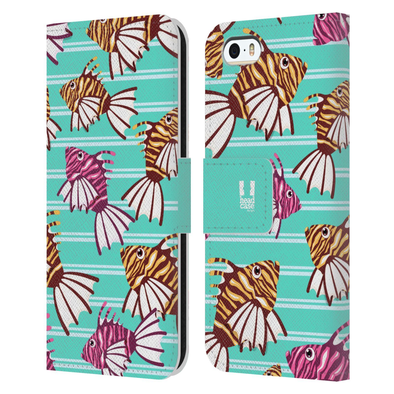 HEAD CASE Flipové pouzdro pro mobil Apple Iphone 5/5s Mořský živočich ryba modrá barva
