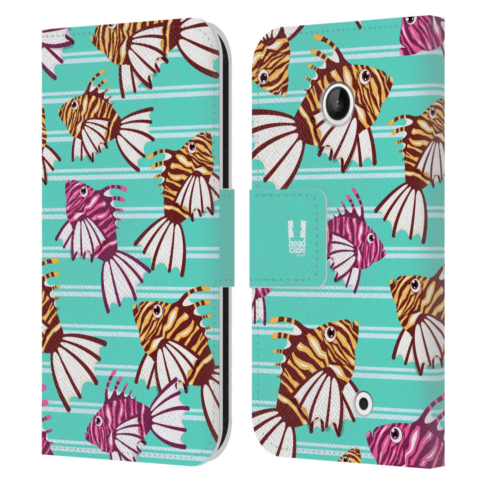 HEAD CASE Flipové pouzdro pro mobil NOKIA LUMIA 630 / LUMIA 630 DUAL Mořský živočich ryba modrá barva