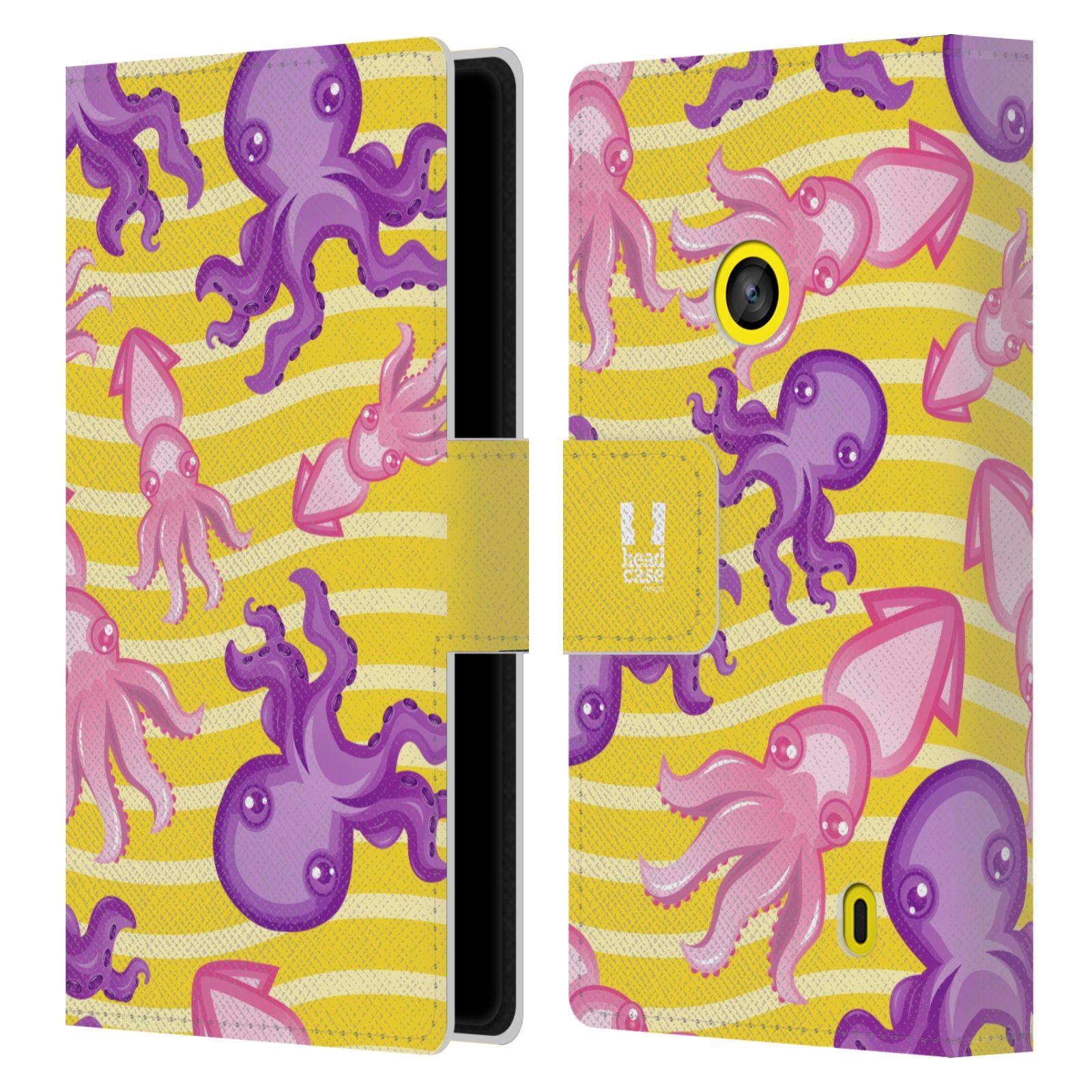 HEAD CASE Flipové pouzdro pro mobil NOKIA LUMIA 520 / 525 Mořský živočich chobotnice a krakatice žlutá barva