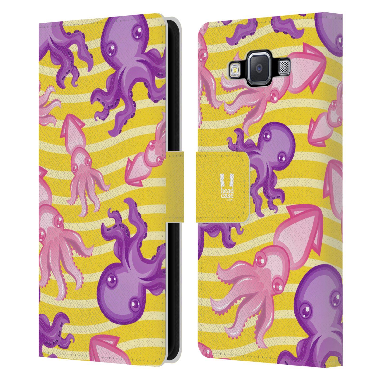 HEAD CASE Flipové pouzdro pro mobil Samsung Galaxy A5 Mořský živočich chobotnice a krakatice žlutá barva